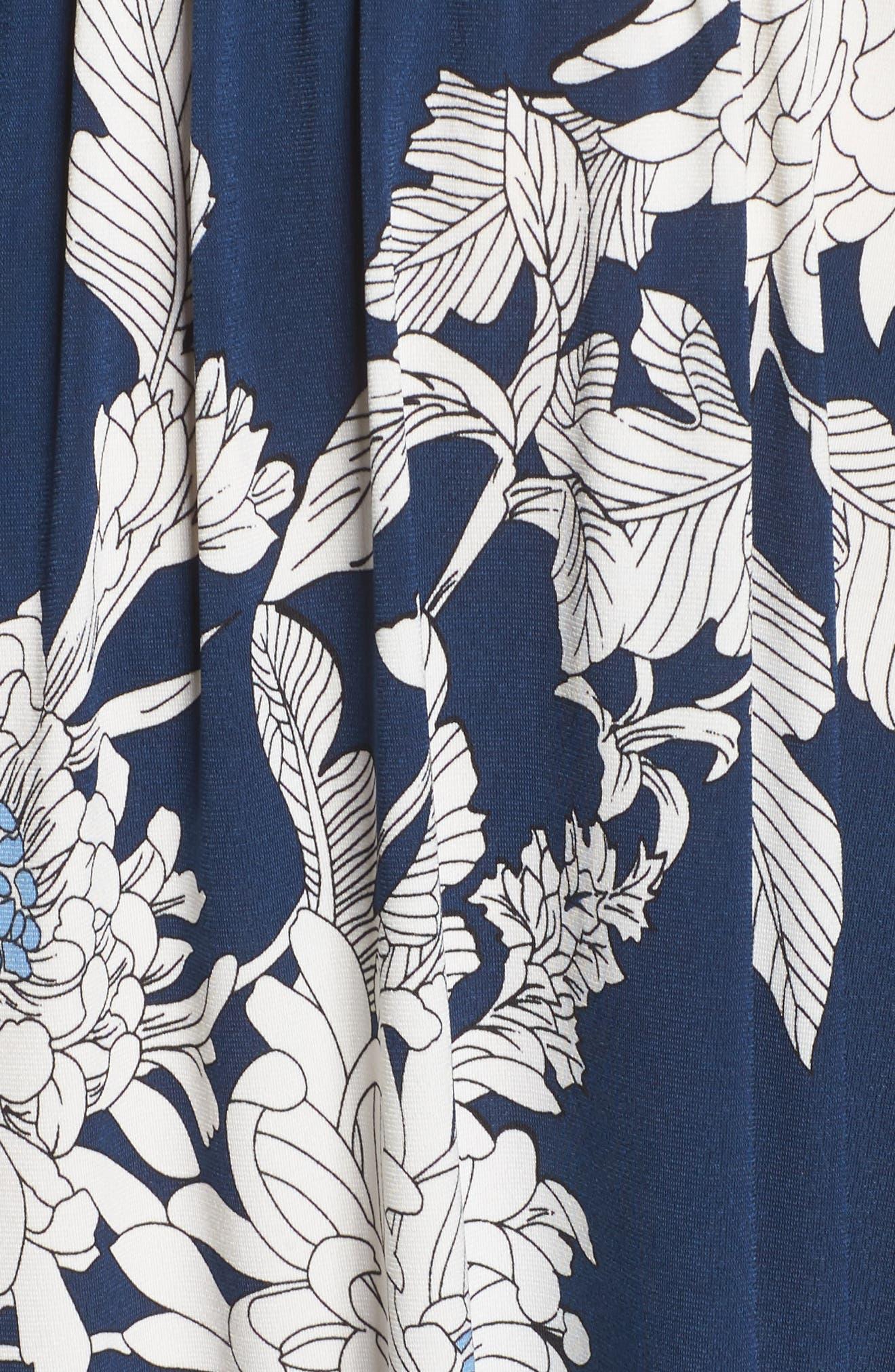 Print Jersey Off the Shoulder Blouson Dress,                             Alternate thumbnail 5, color,                             402