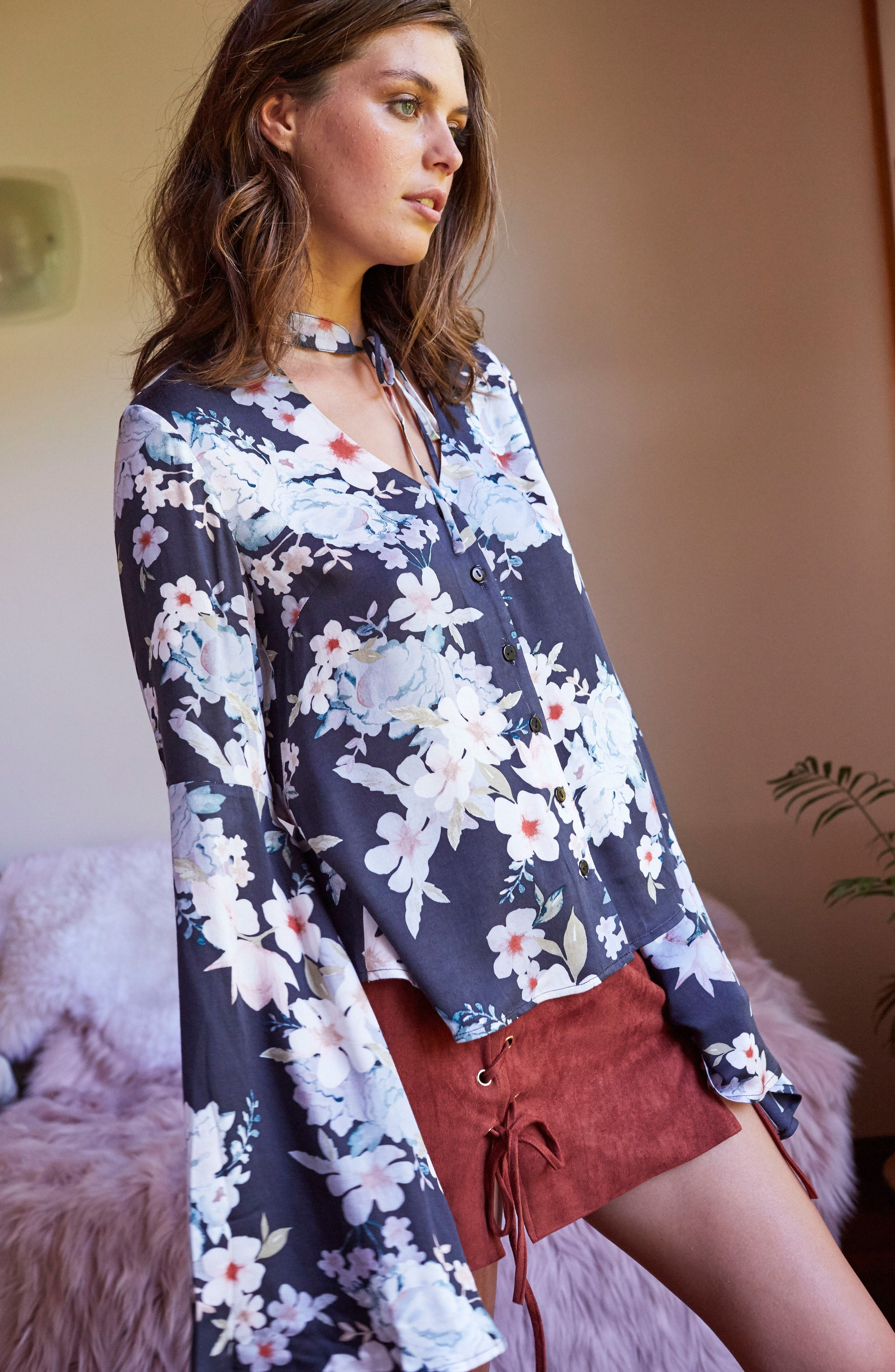 Mystic Nights Floral Blouse,                             Alternate thumbnail 8, color,                             400