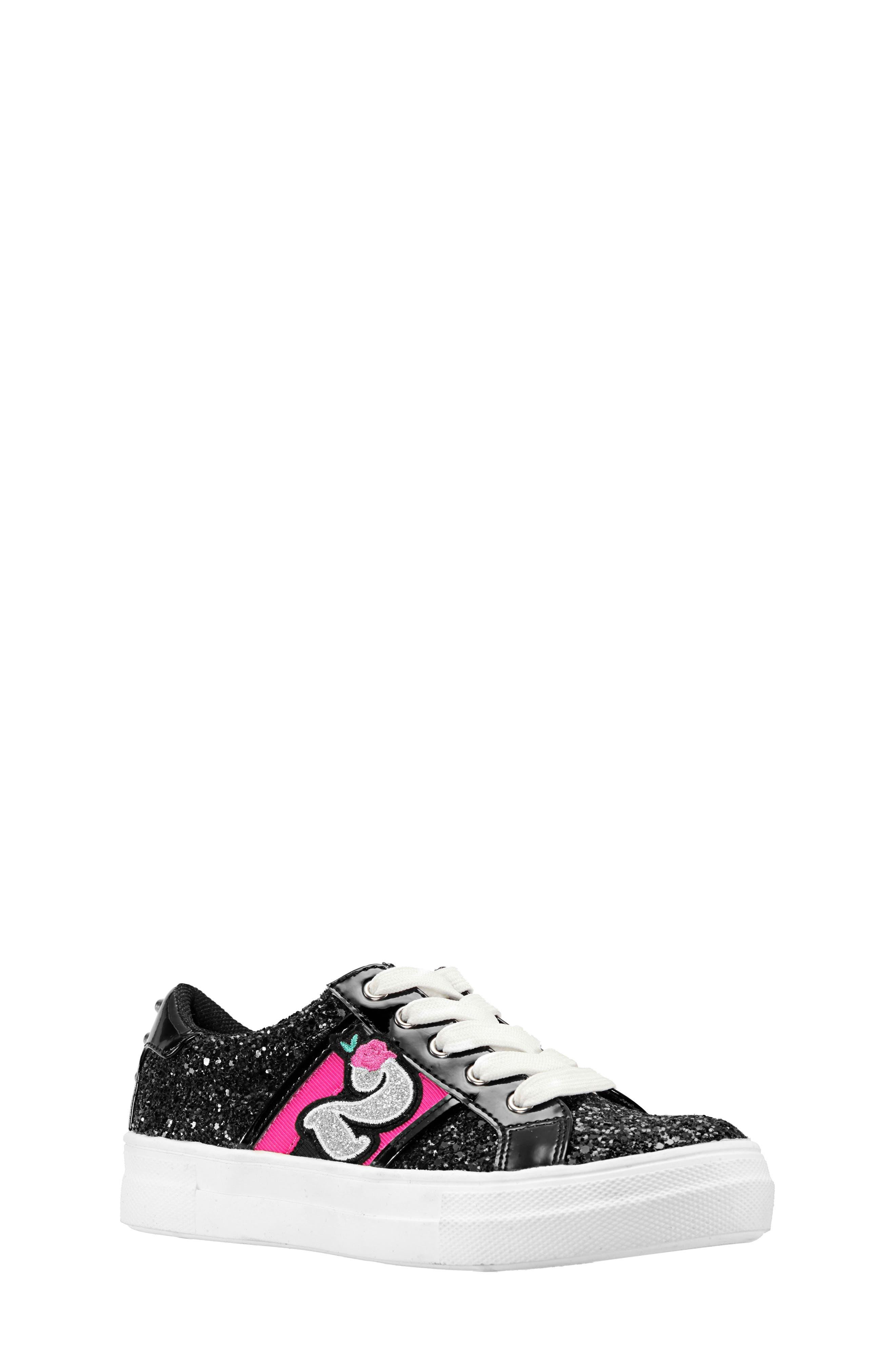 Hazeline-N Glitter Sneaker,                         Main,                         color, BLACK CHUNKY GLITTER