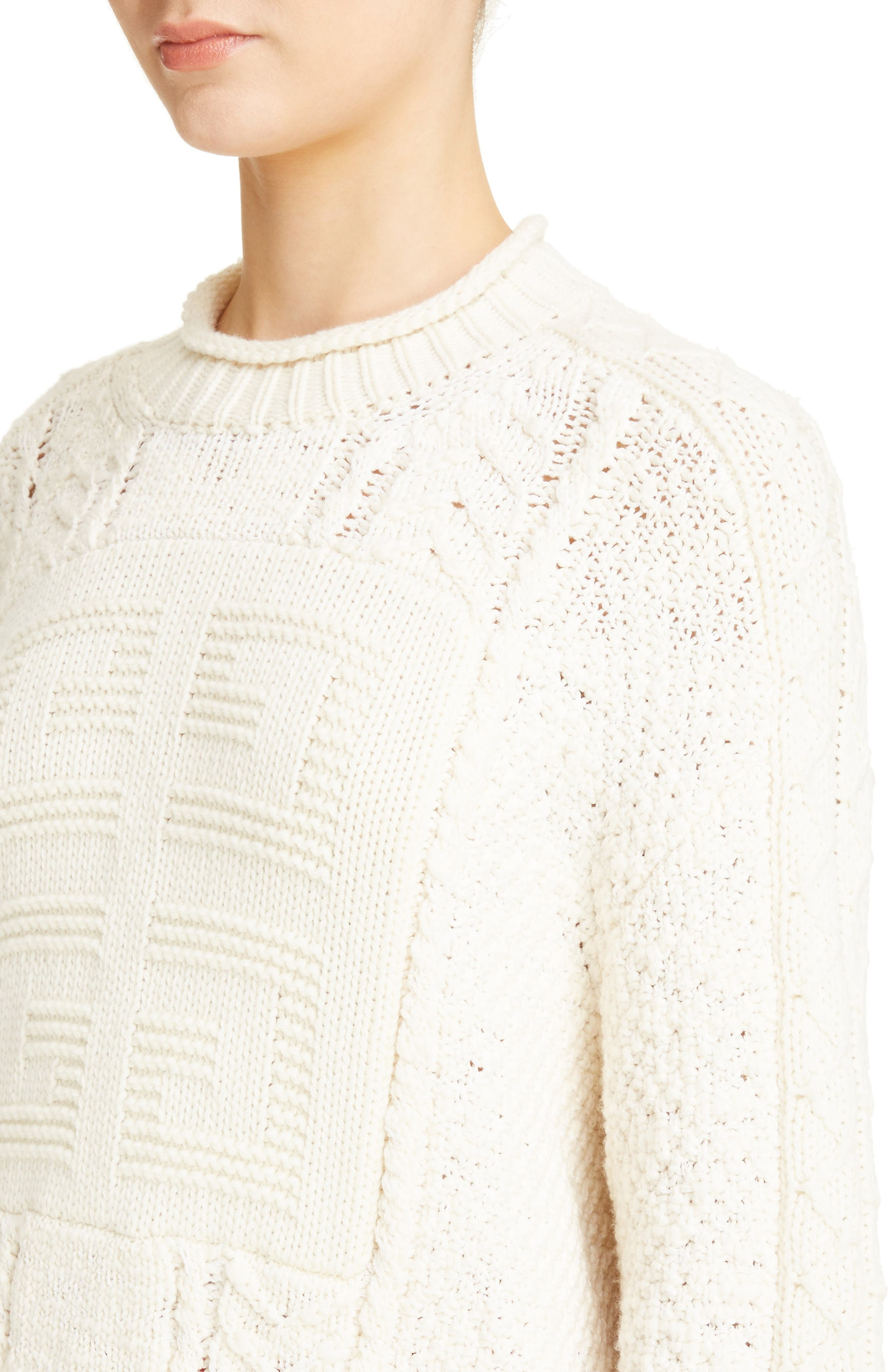 Cable Knit Wool & Cashmere Sweater,                             Alternate thumbnail 4, color,                             WHITE/ ECRU
