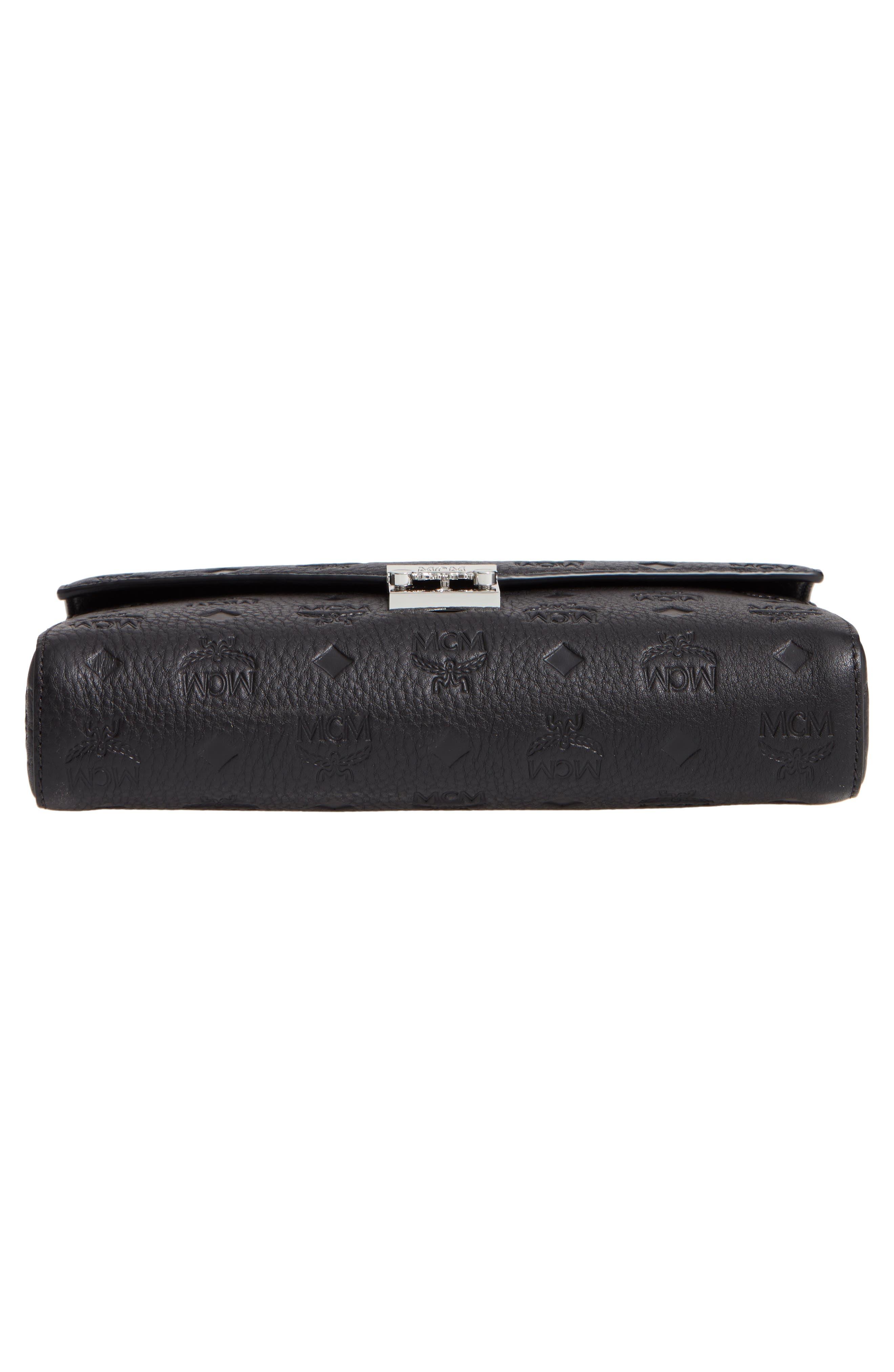 Millie Medium Calfskin Leather Wallet on a Chain,                             Alternate thumbnail 6, color,                             BLACK