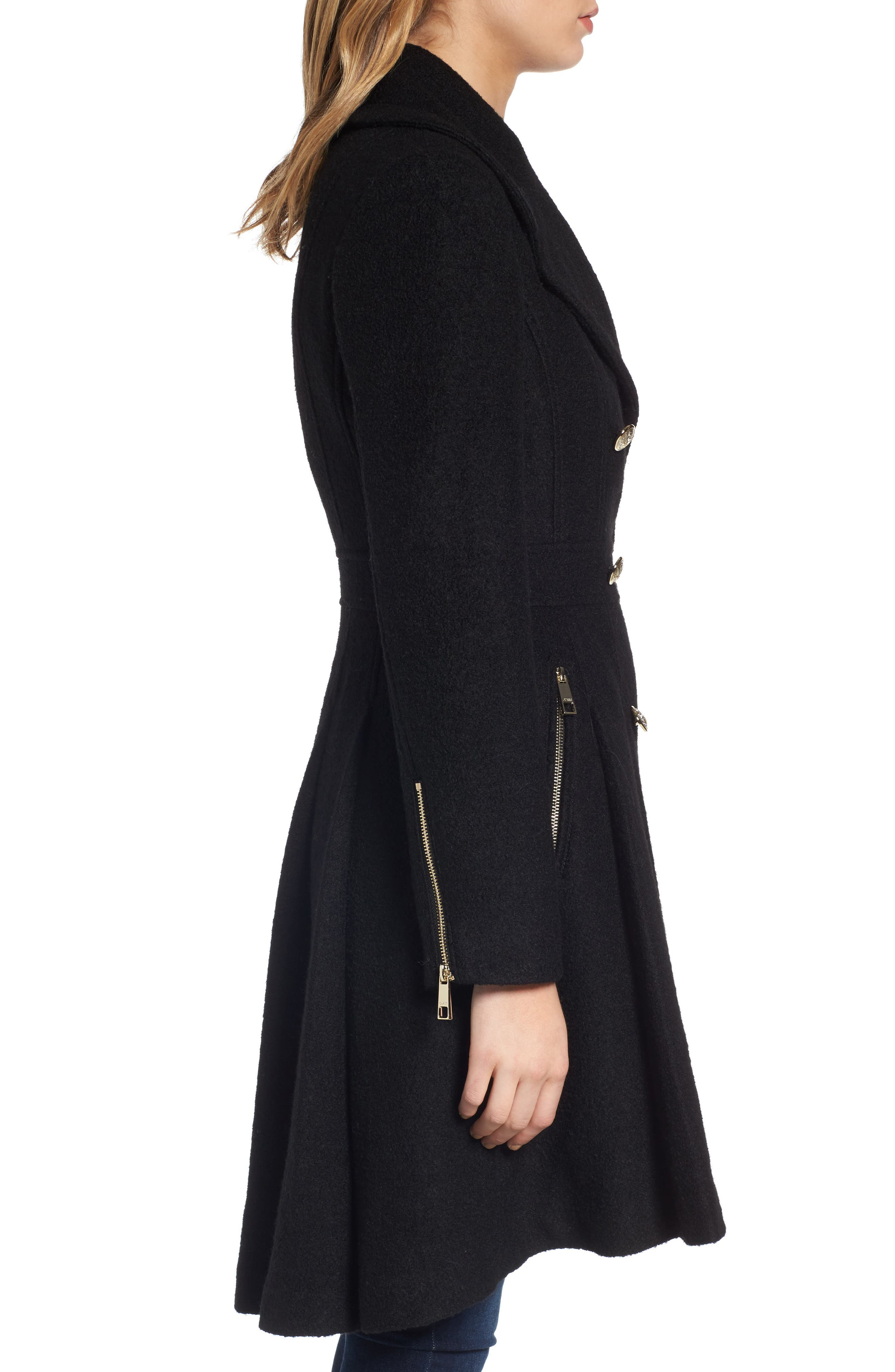Double Breasted Wool Blend Coat,                             Alternate thumbnail 7, color,
