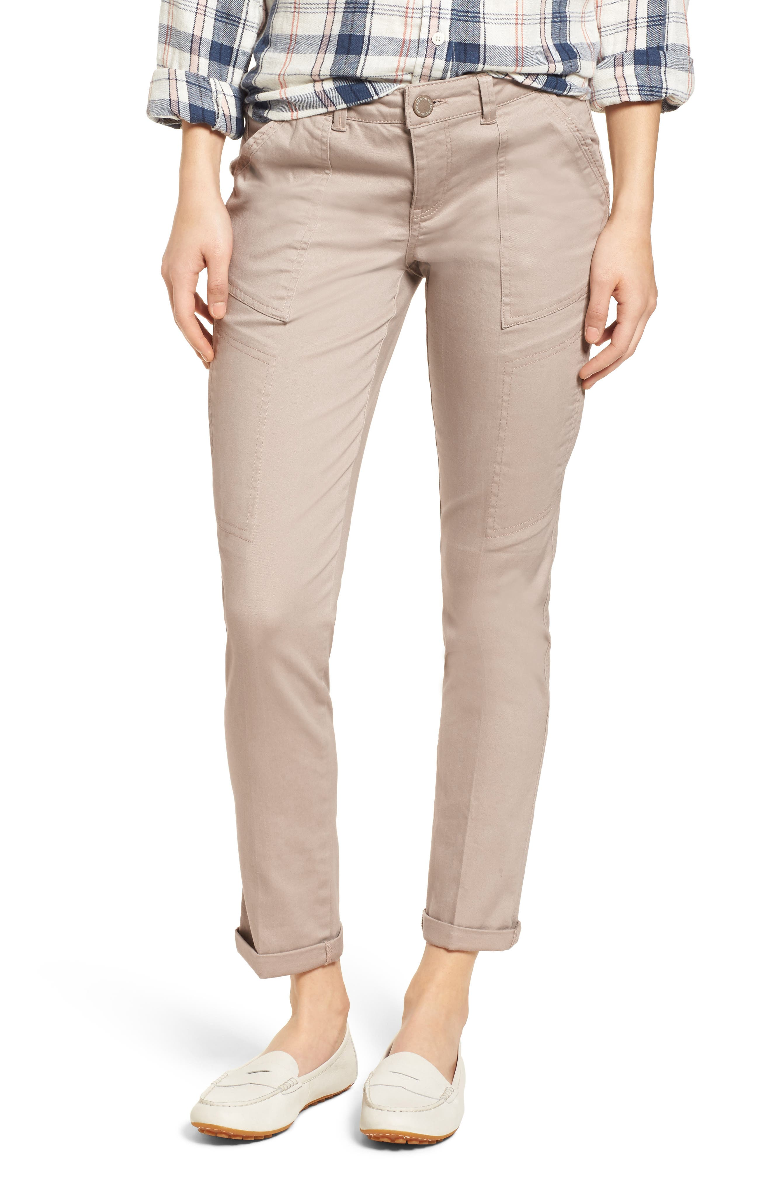 Twill Cargo Pants,                         Main,                         color, FLAX