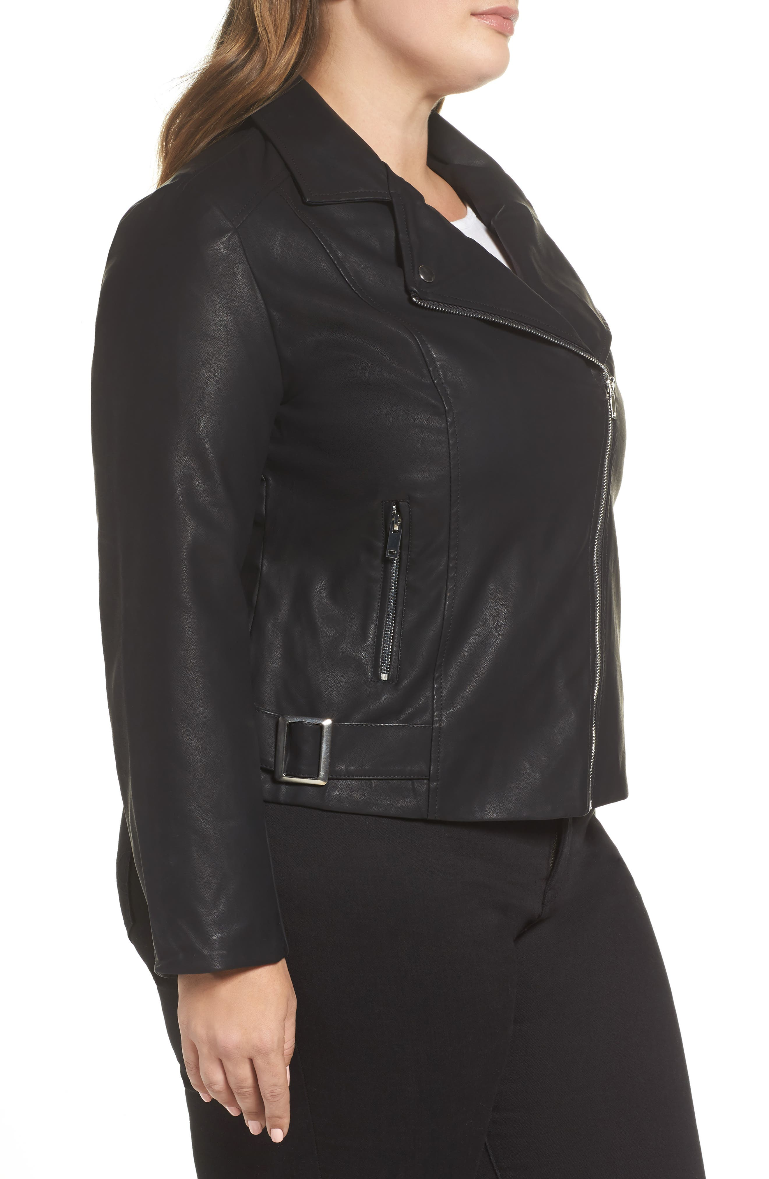 Faux Leather Moto Jacket,                             Alternate thumbnail 3, color,                             001