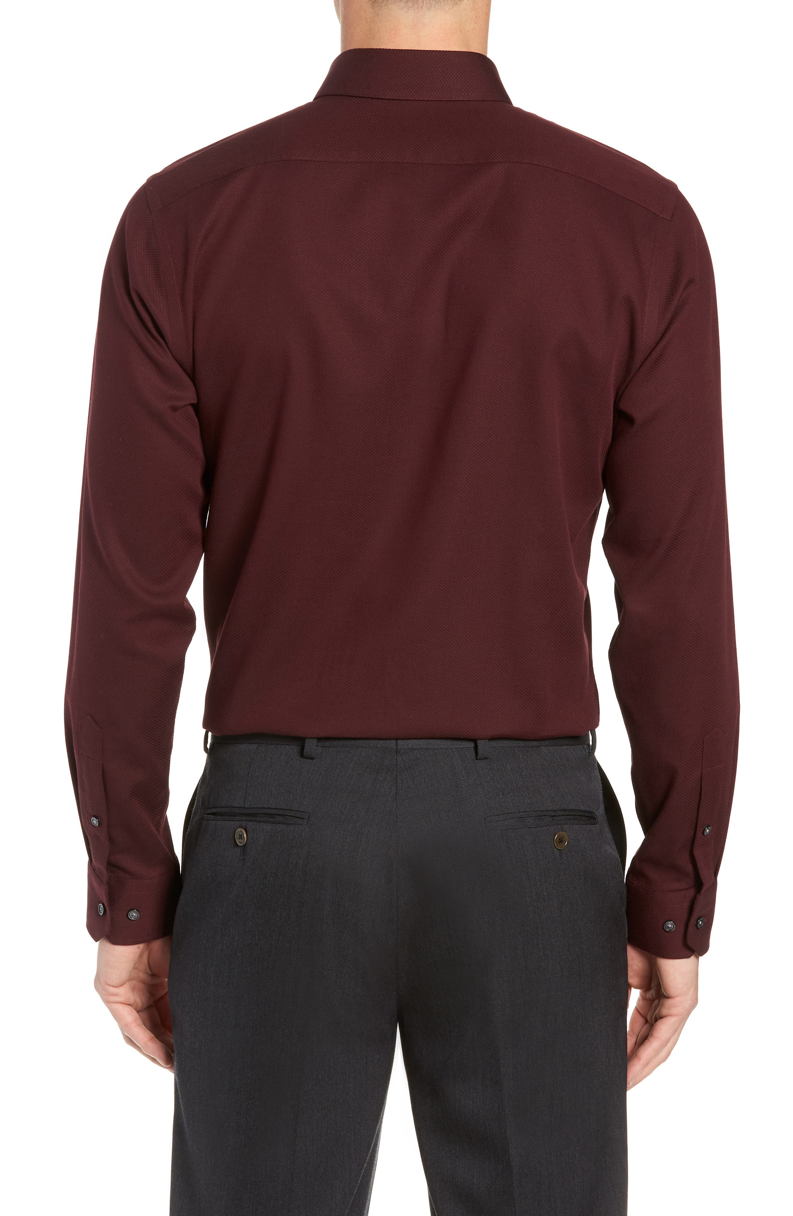 Trim Fit Non-Iron Solid Dress Shirt,                             Alternate thumbnail 3, color,                             BURGUNDY ROYALE