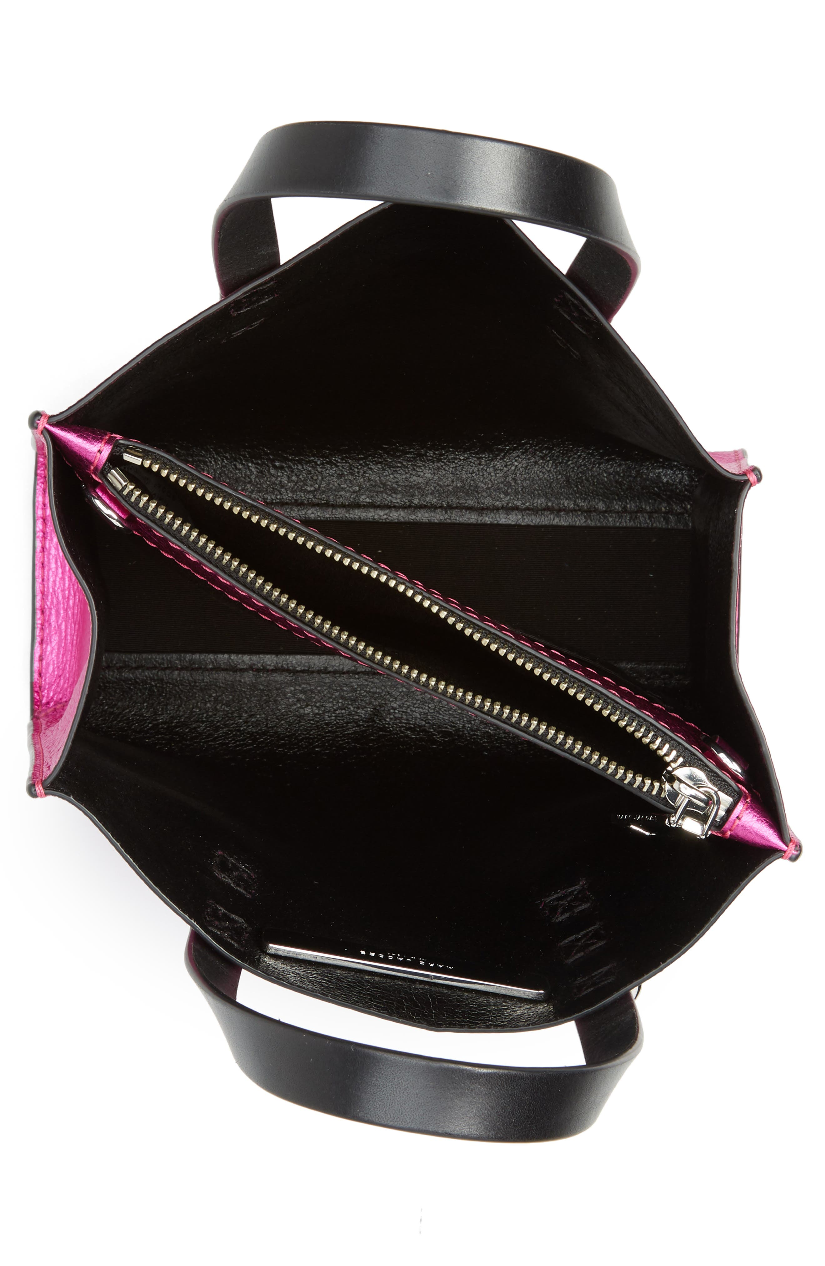 Mini The Grind Metallic Leather Tote,                             Alternate thumbnail 4, color,                             PUNCH PINK