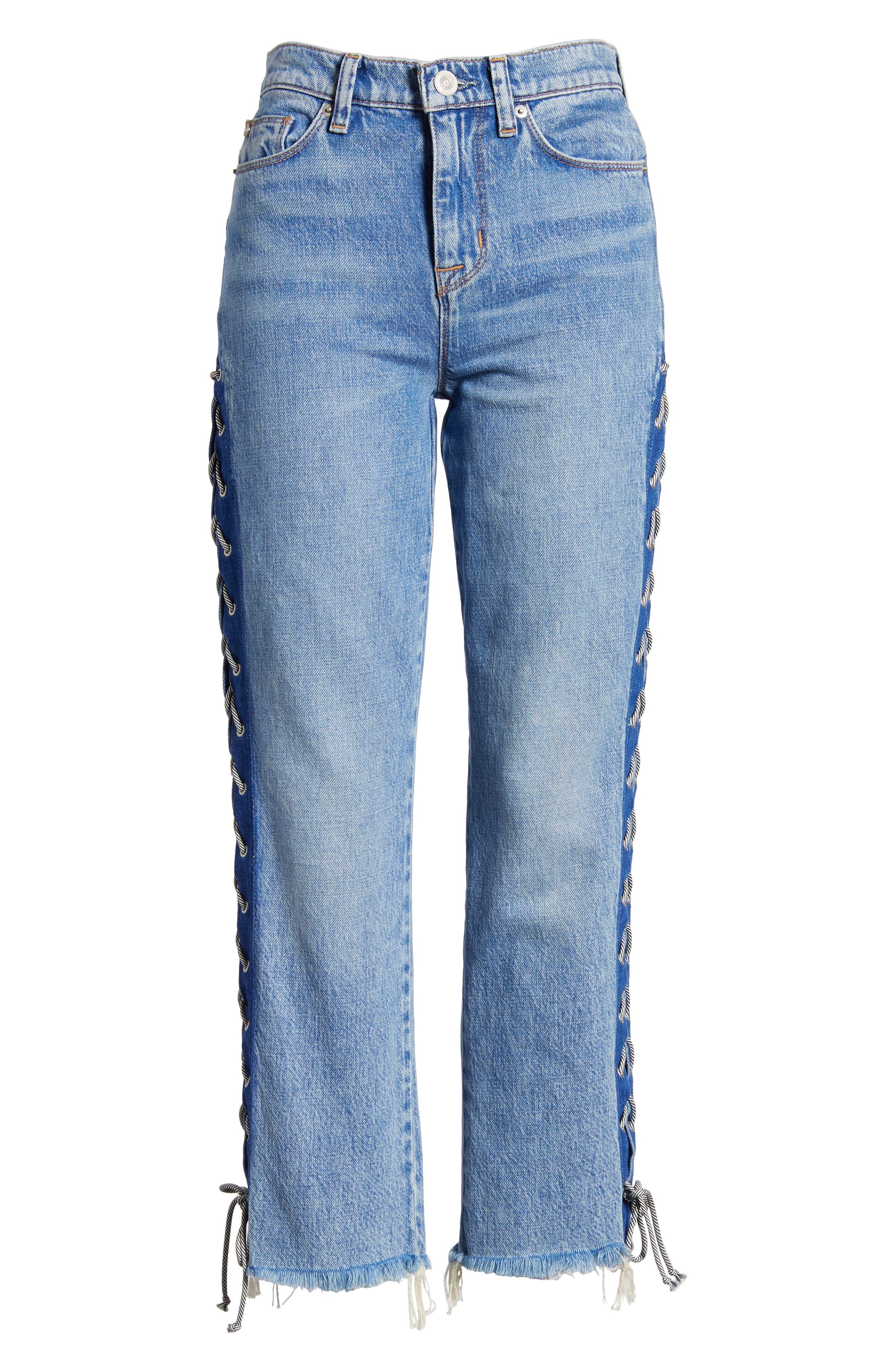 Zoeey High Waist Crop Straight Leg Jeans,                             Alternate thumbnail 7, color,                             460