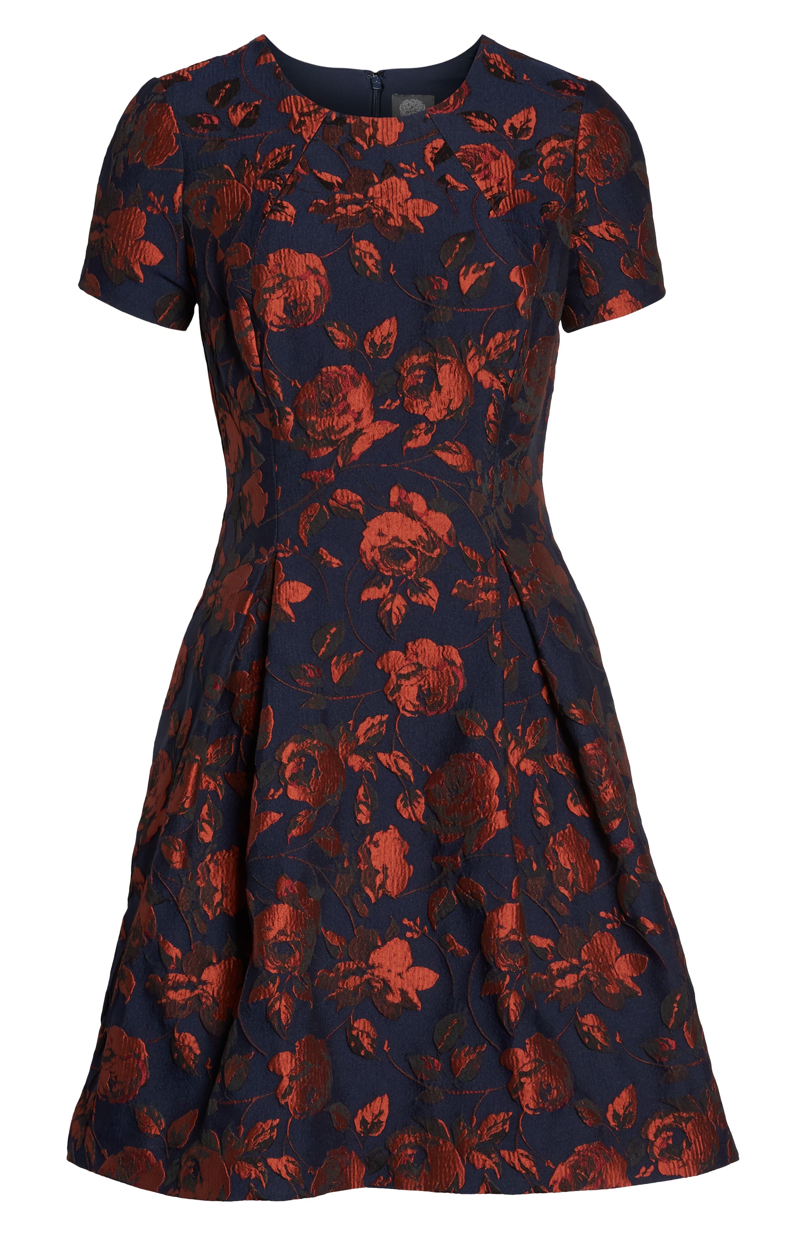 Jacquard Fit & Flare Dress,                             Alternate thumbnail 7, color,                             NAVY MULTI