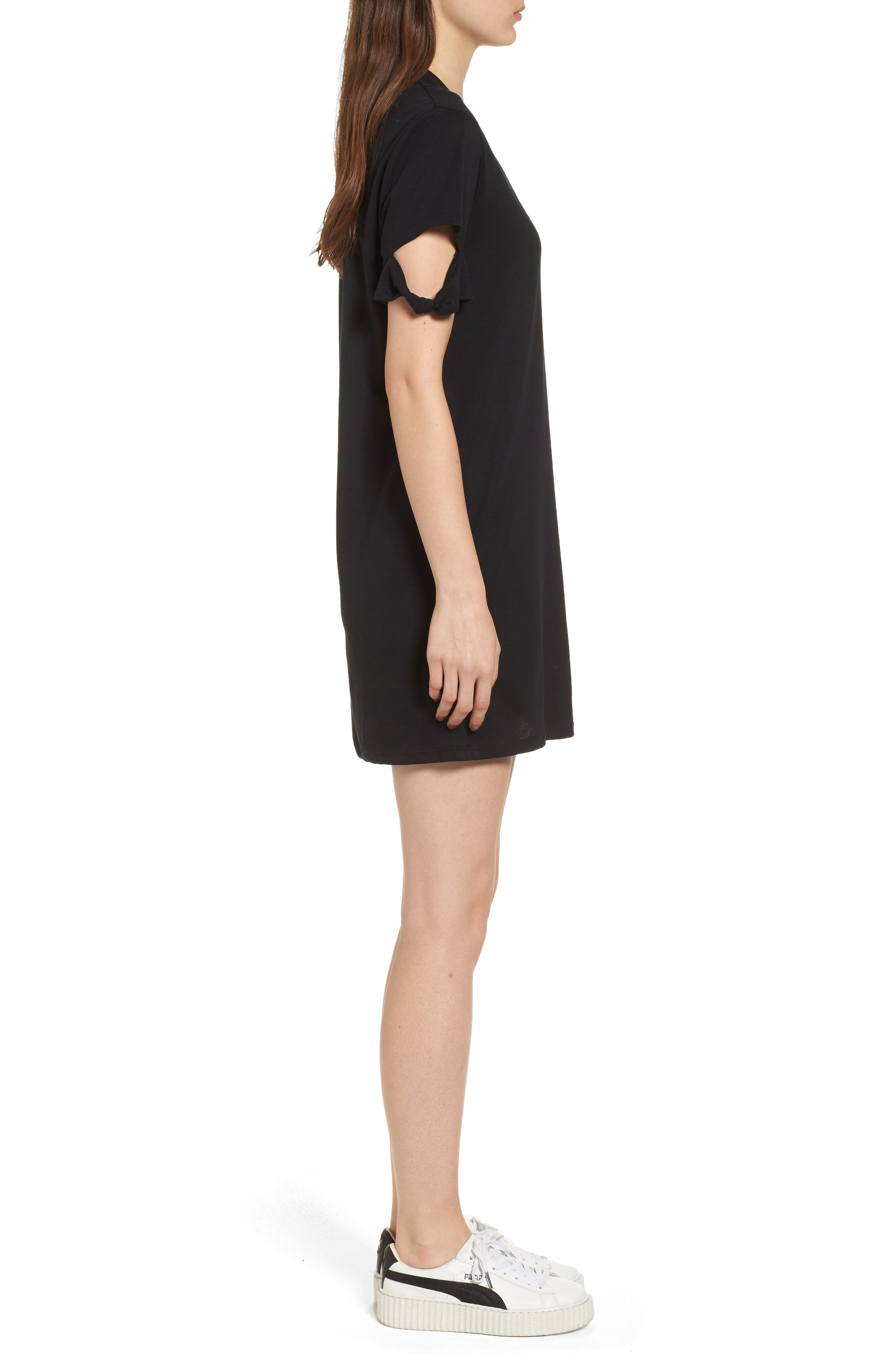 Knotted Sleeve T-Shirt Dress,                             Alternate thumbnail 3, color,                             001
