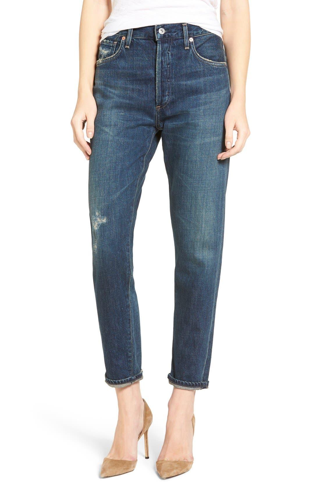 Liya High Waist Slim Boyfriend Jeans,                             Alternate thumbnail 5, color,                             WILTERN