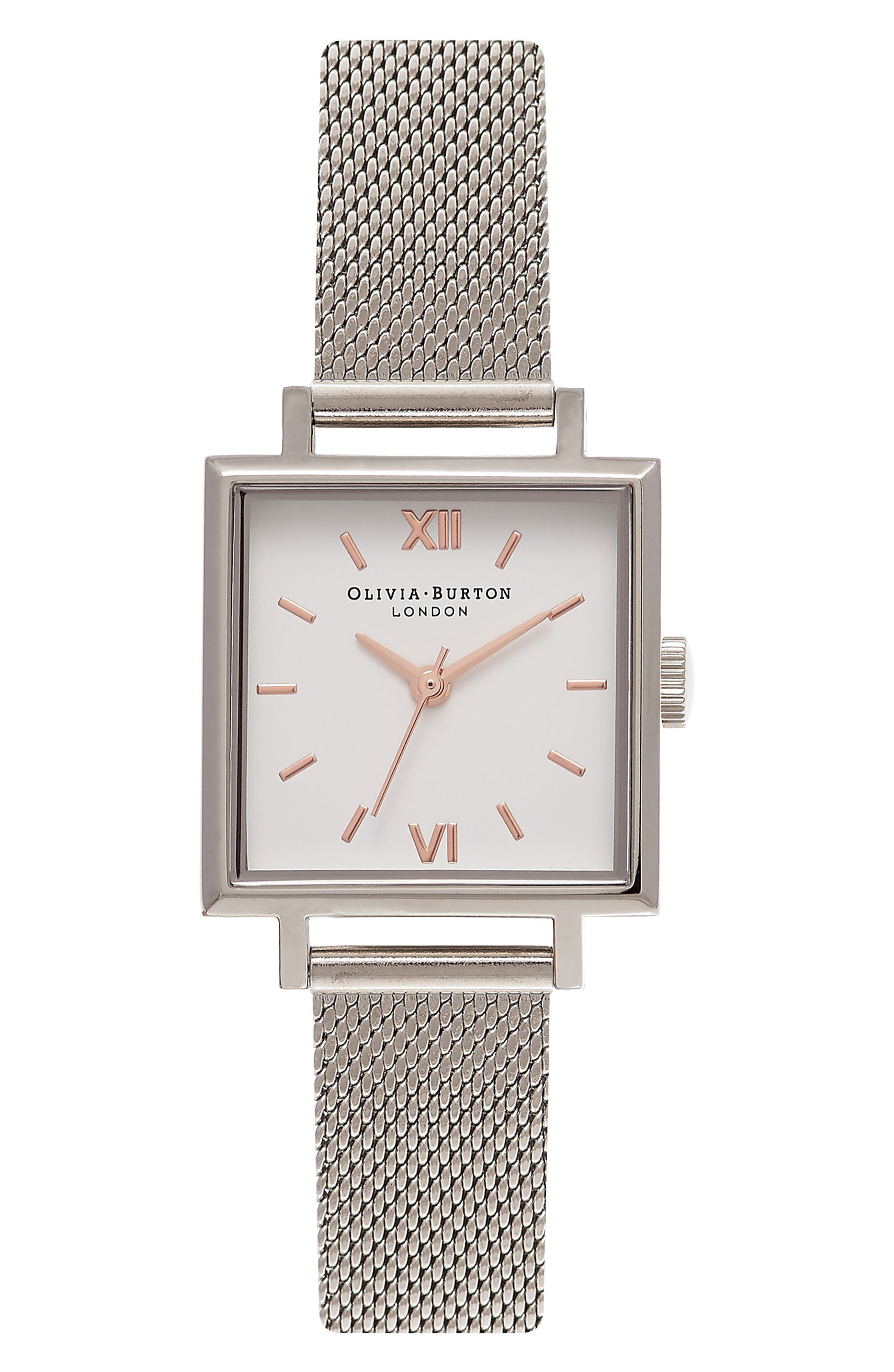 Midi Square Mesh Strap Watch, 22.5mm,                         Main,                         color, 040
