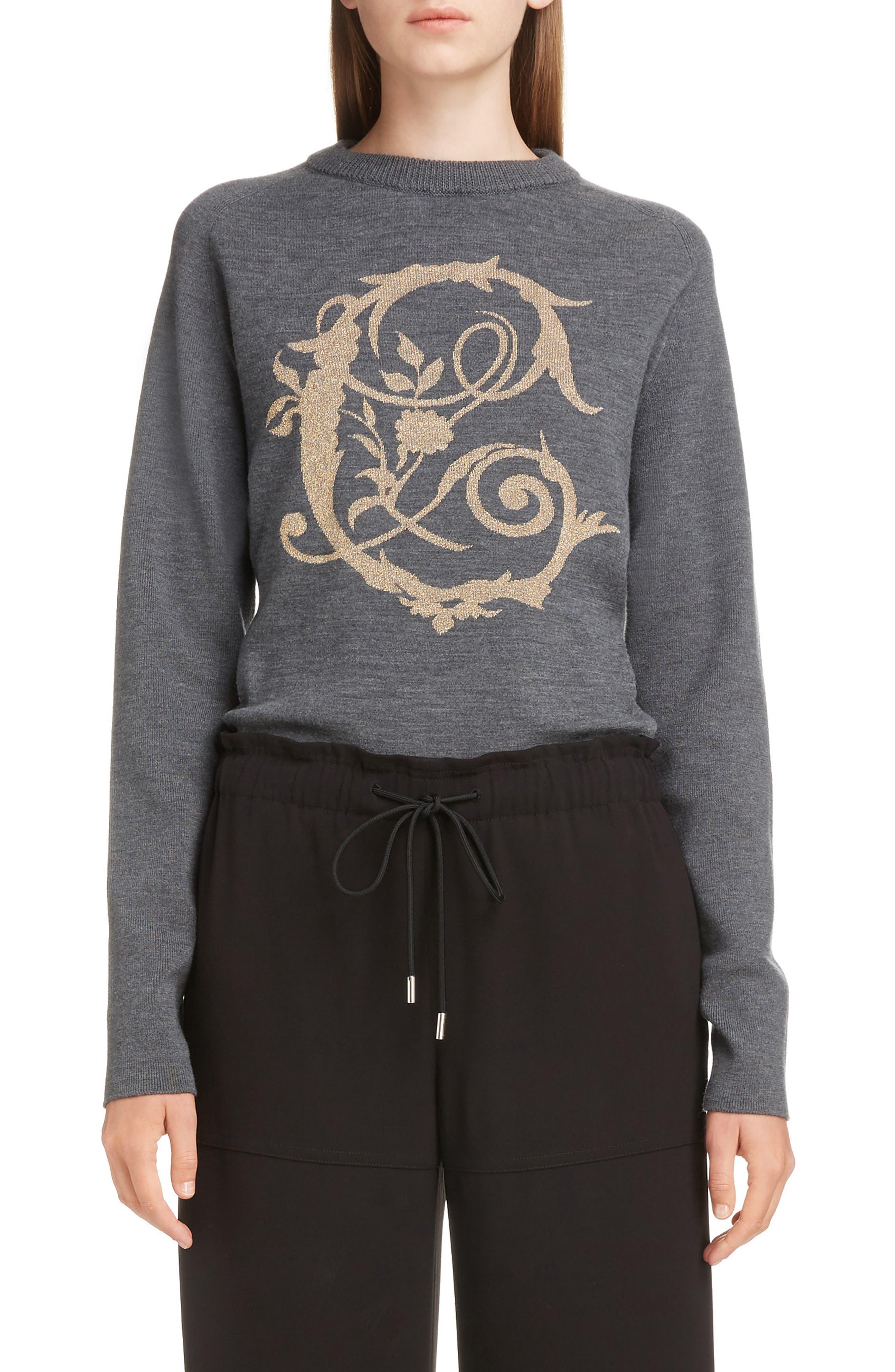 Brocade C Sweater,                         Main,                         color, CONFIDENT GREY