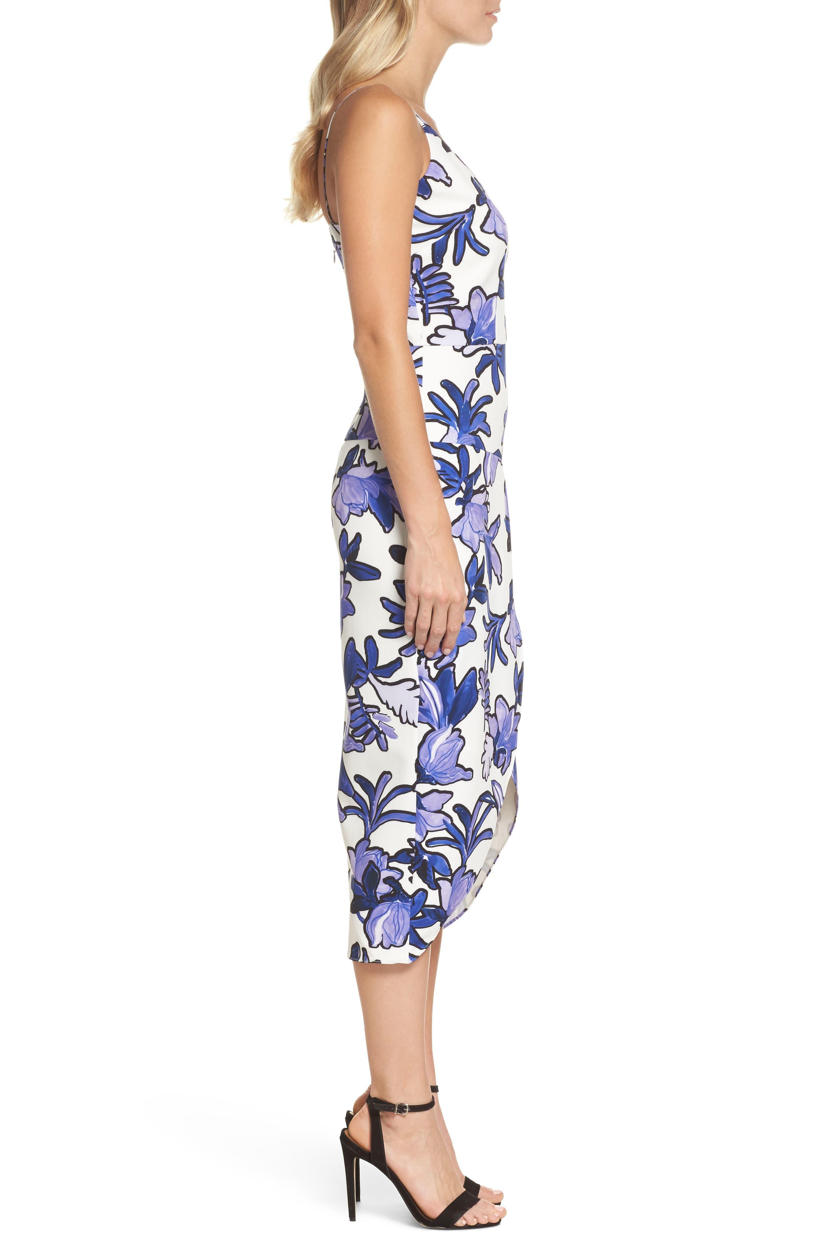 Floral Midi Dress,                             Alternate thumbnail 3, color,                             100