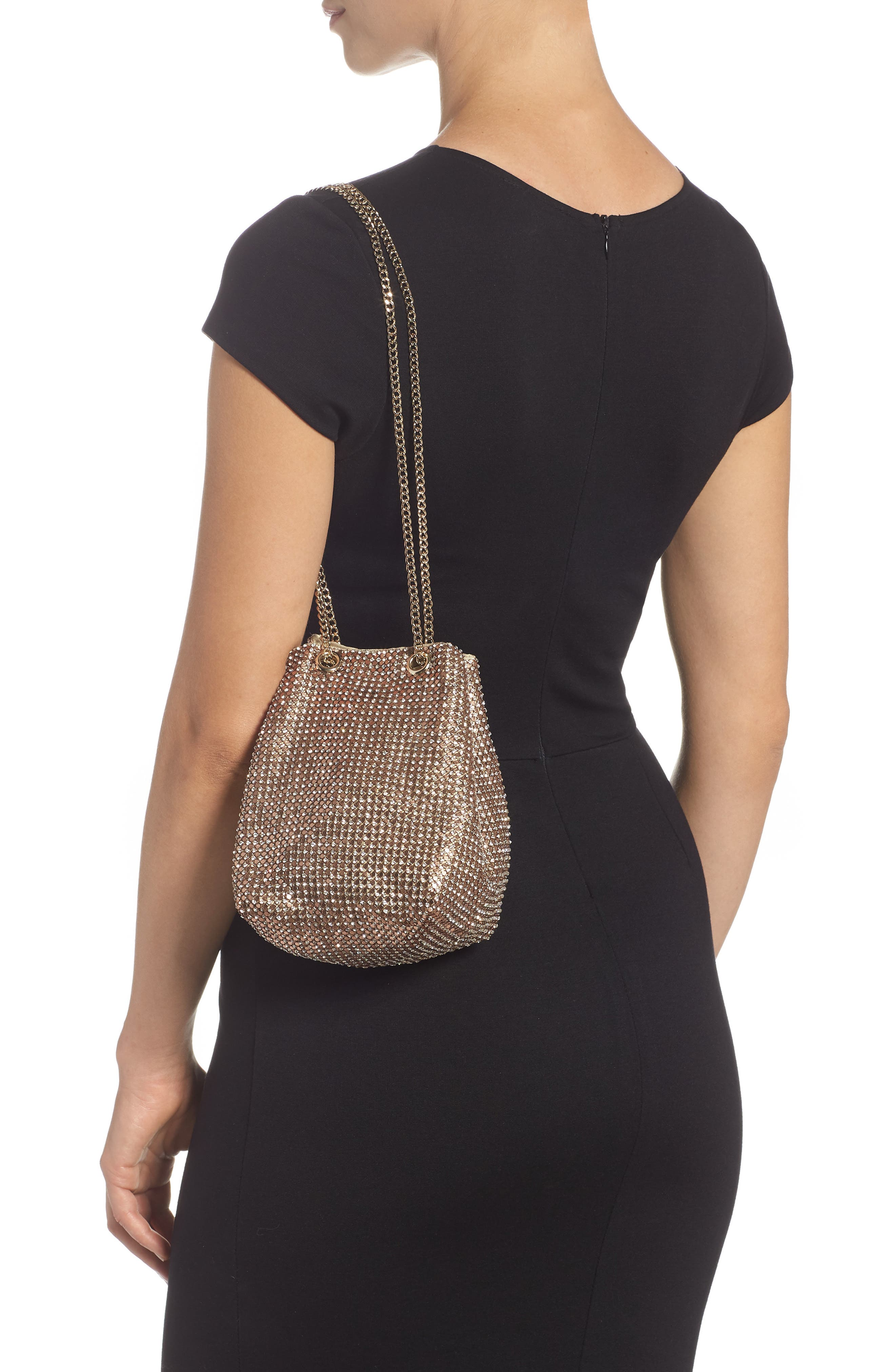 Crystal Mesh Crossbody Bucket Bag,                             Alternate thumbnail 2, color,                             ROSE GOLD