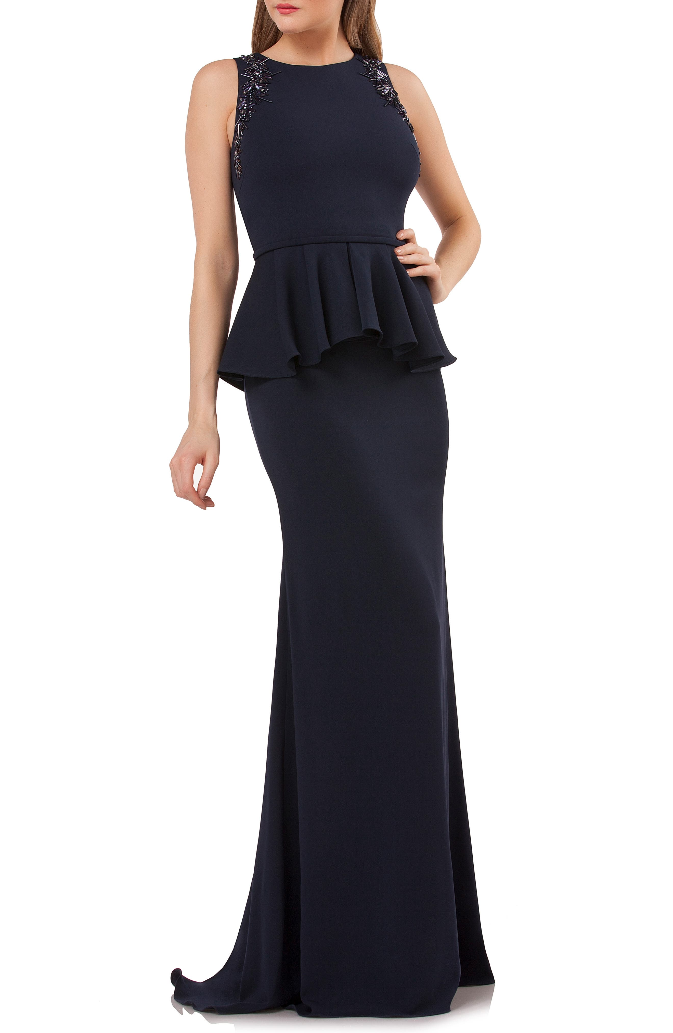 Carmen Marc Valvo Infusion Embellished Peplum Waist Crepe Gown, Blue
