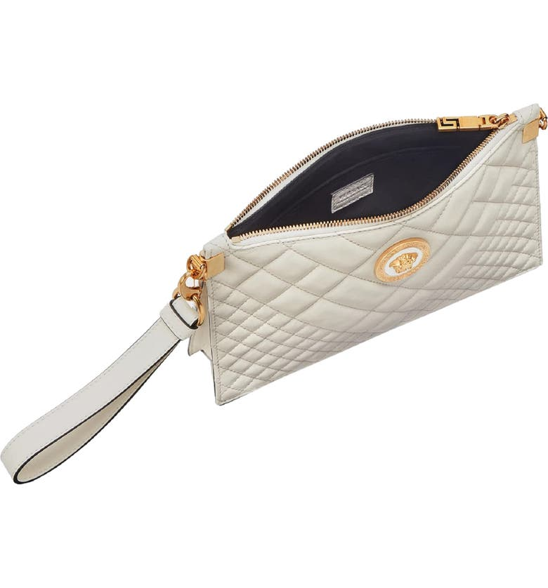 94861ad665 Versace Tribute Icon Quilted Leather Pouch - Ivory In Off White  Gold