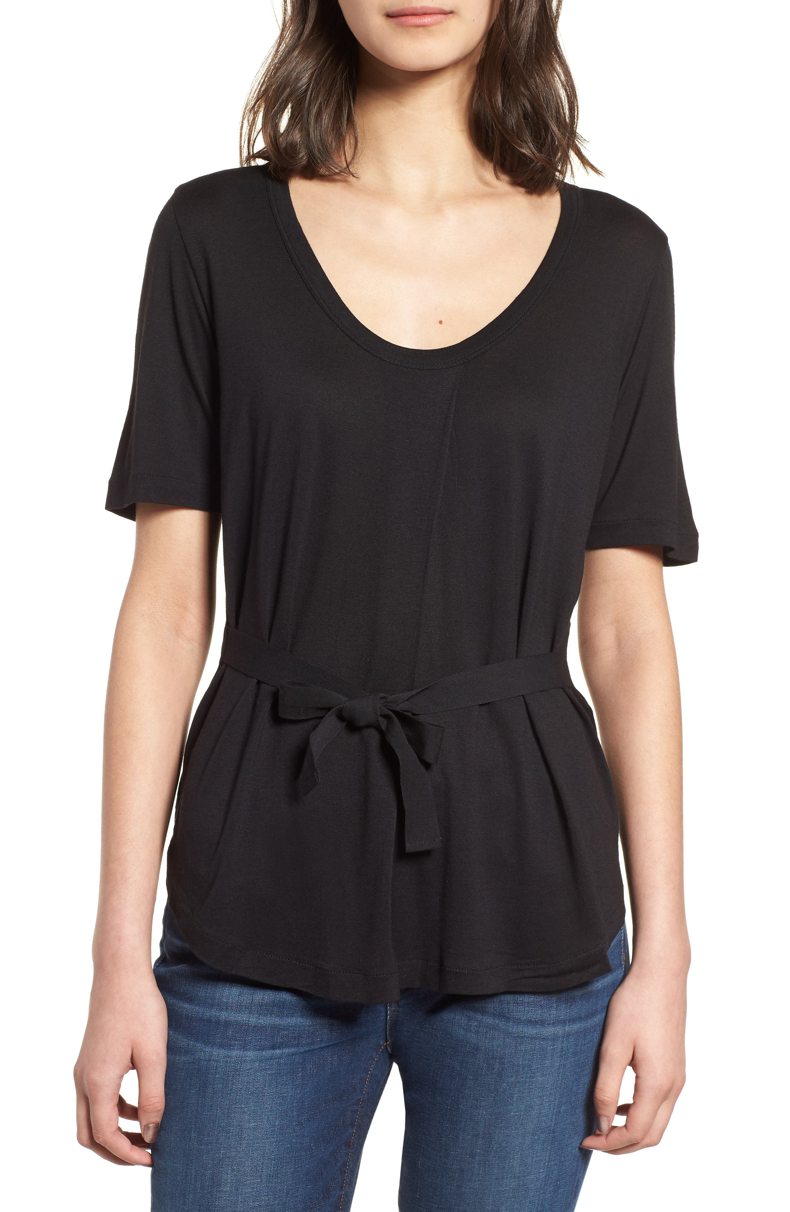 Side Tie Scoop Neck Tee,                             Main thumbnail 1, color,                             001