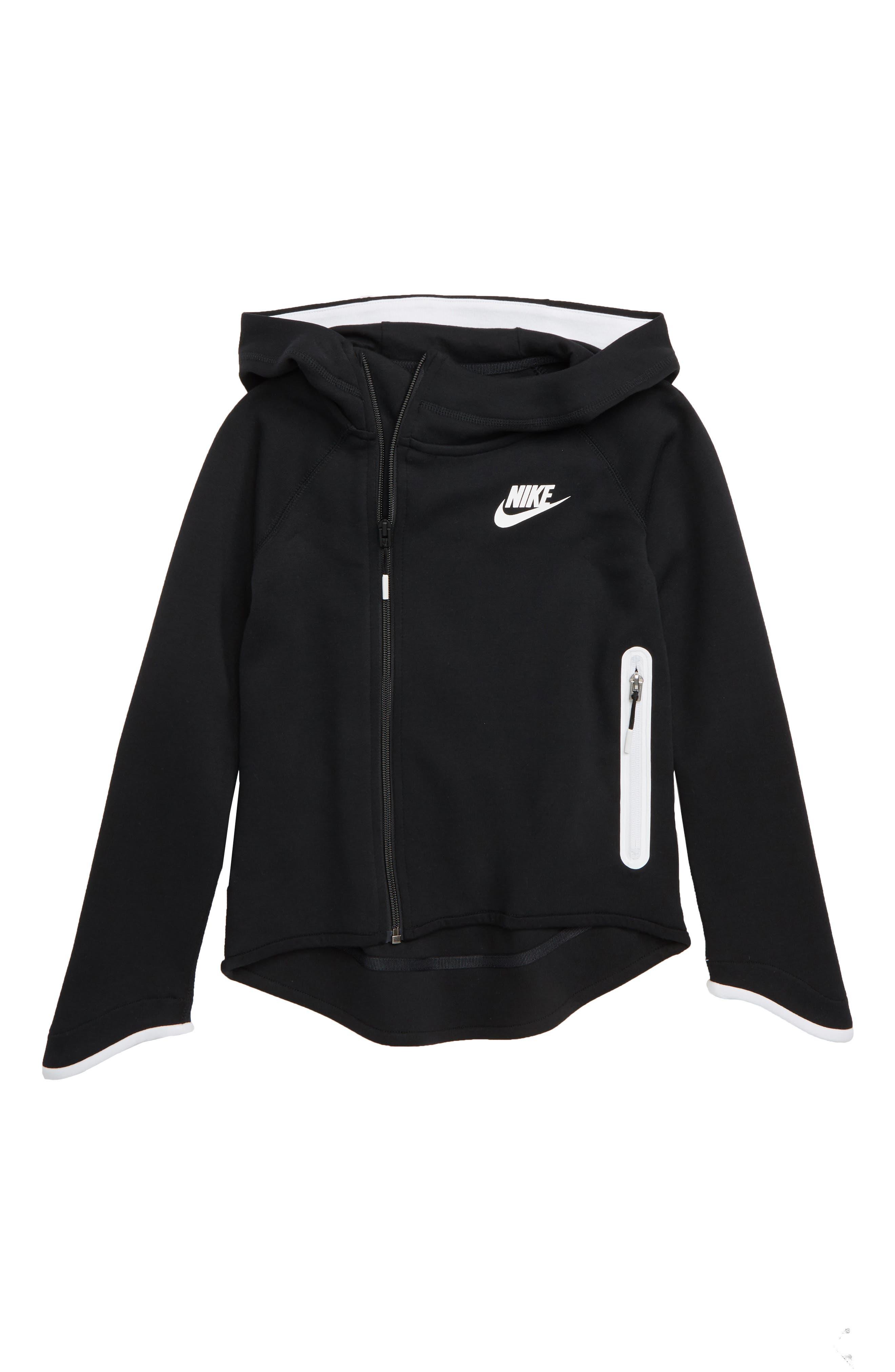 Standard Fit Tech Fleece Zip Hoodie,                             Main thumbnail 1, color,                             BLACK/ WHITE/ WHITE
