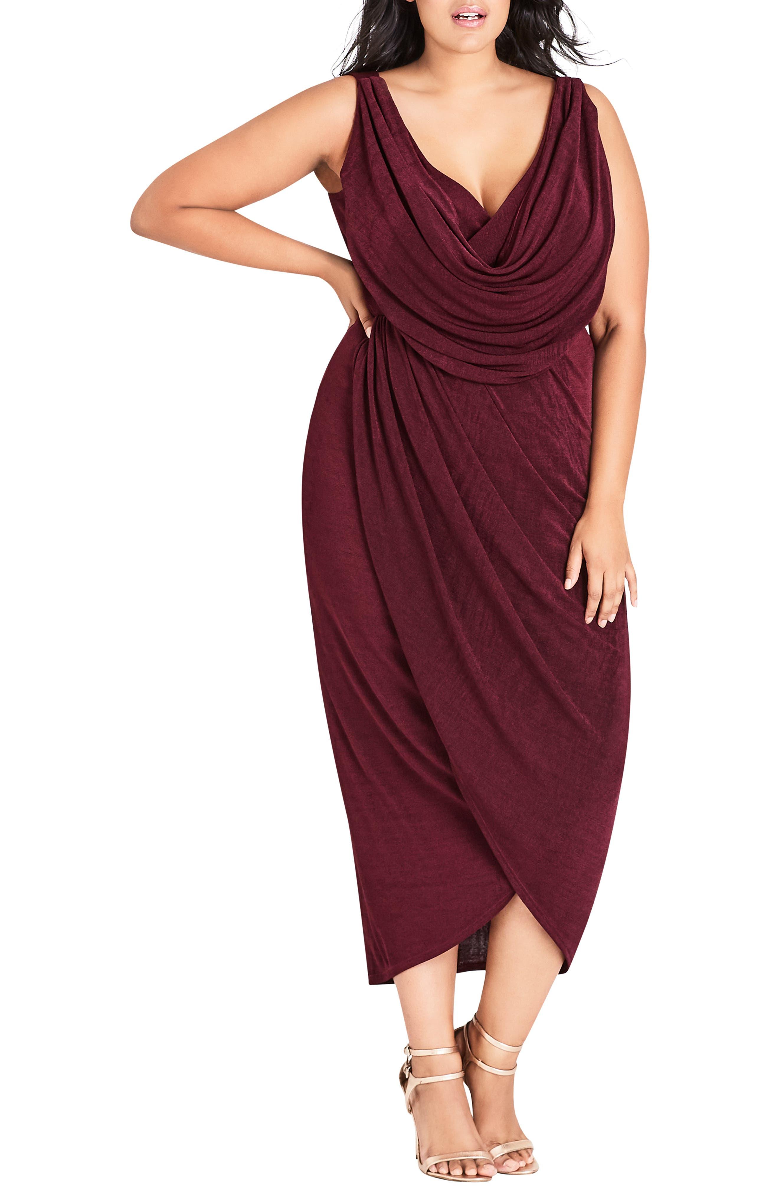 Plus Size City Chic Draped Sleeveless Dress, Purple