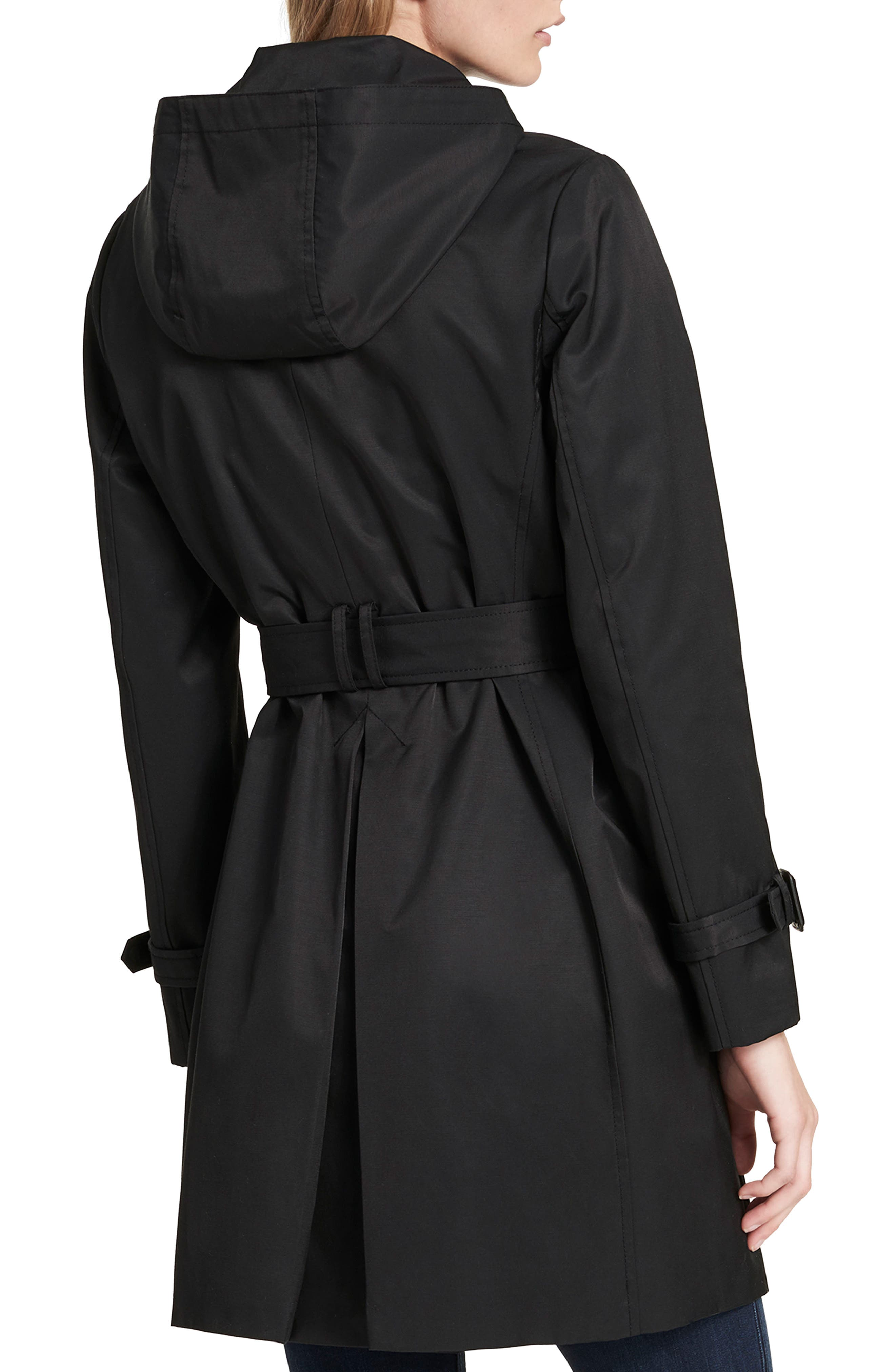 Water Resistant Belted Trench Coat,                             Alternate thumbnail 2, color,                             001
