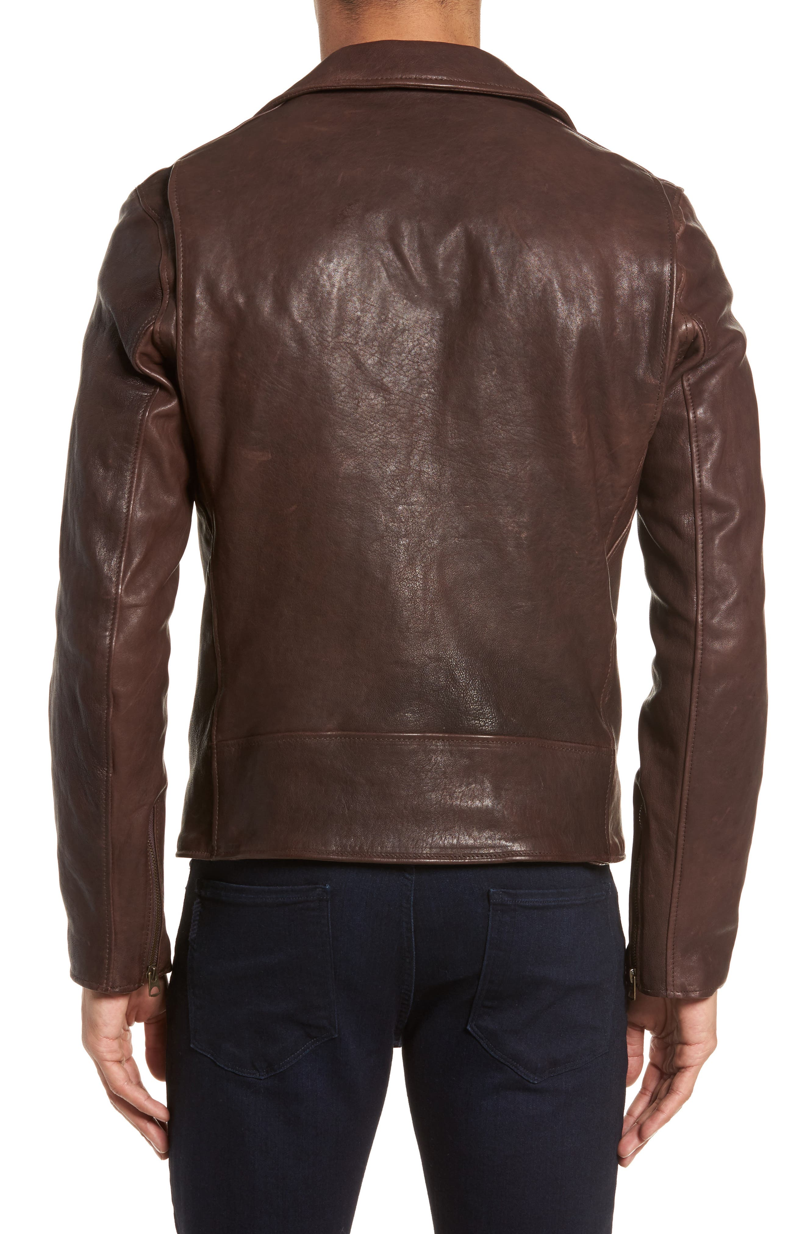 Leather Moto Jacket,                             Alternate thumbnail 2, color,                             BROWN