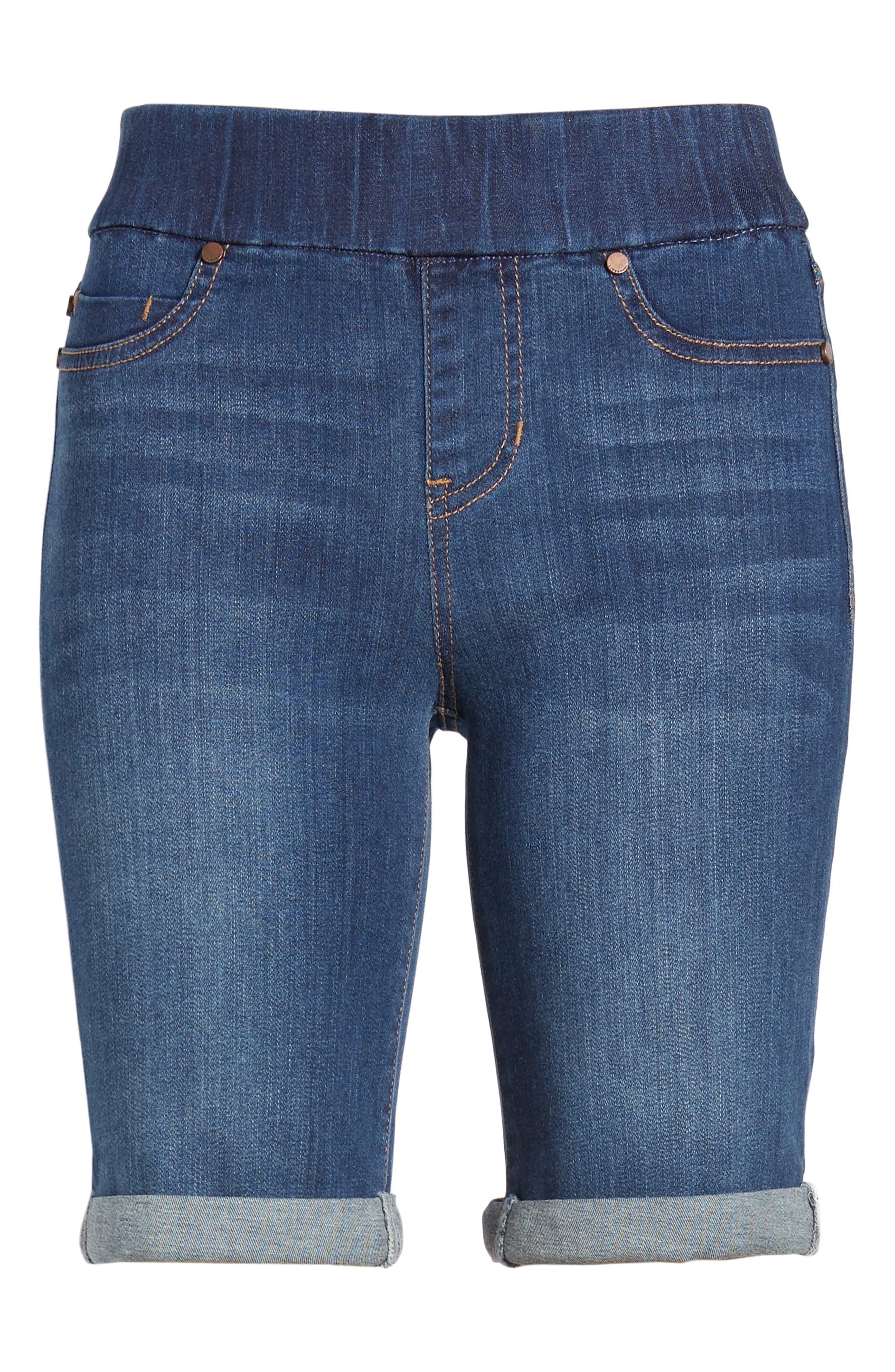 Sienna Pull-On Denim Bermuda Shorts,                             Alternate thumbnail 4, color,                             ELYSIAN DARK