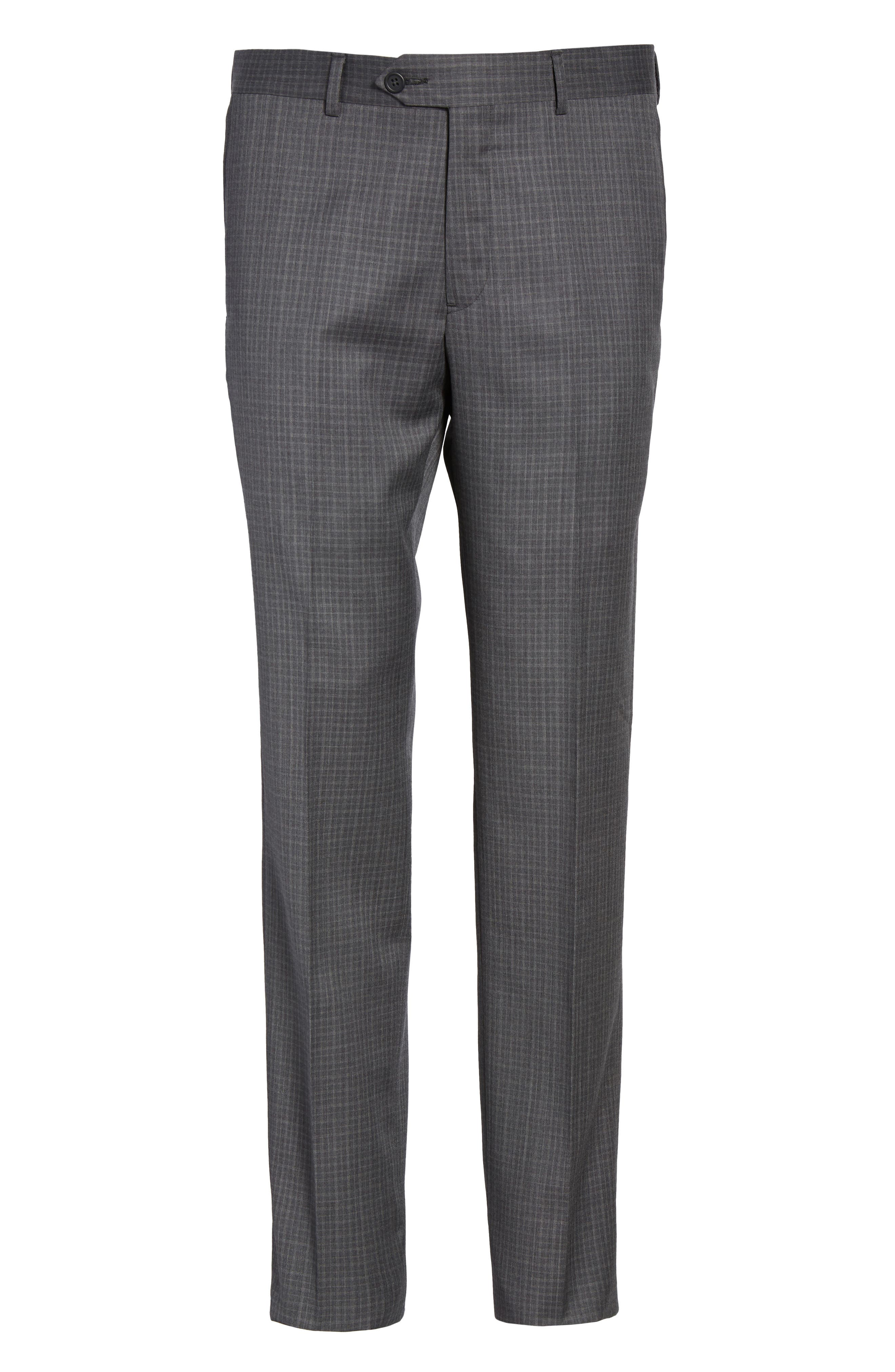 Flat Front Wool Trousers,                             Alternate thumbnail 6, color,                             099