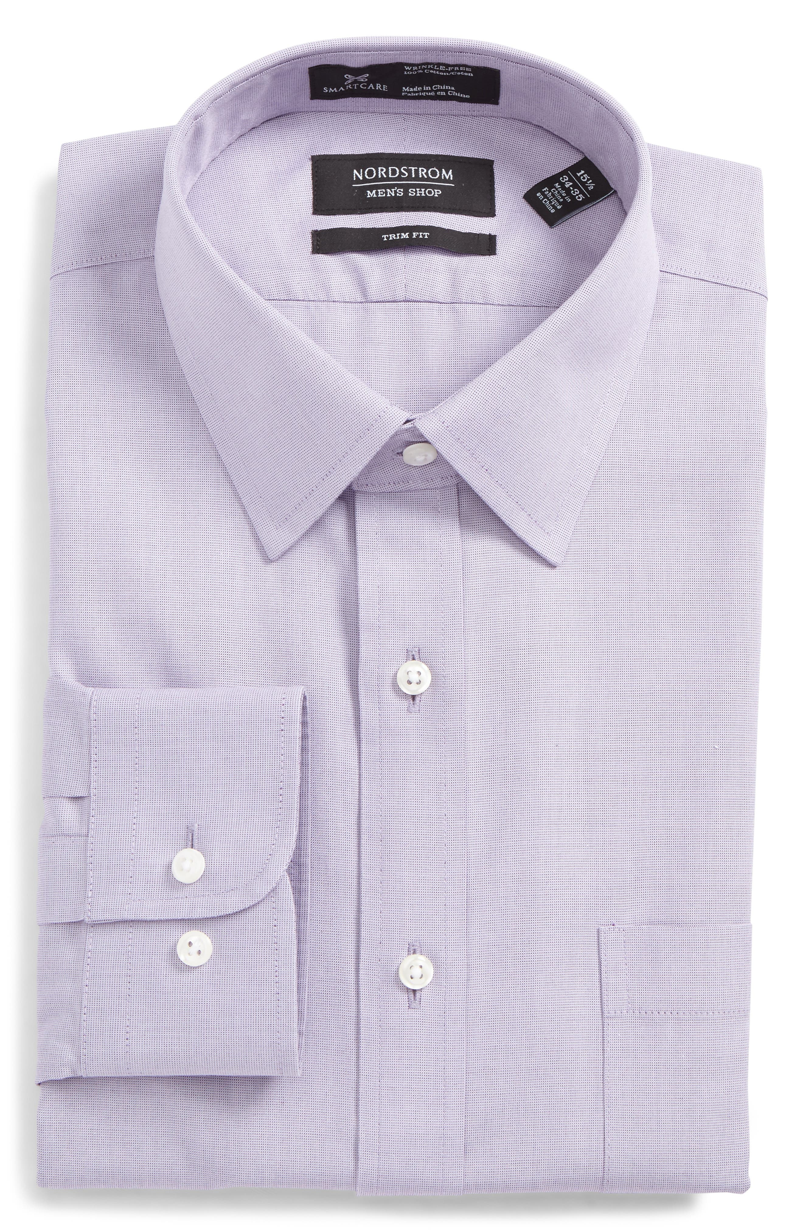 Nordstrom Shop Smartcare(TM) Trim Fit Solid Dress Shirt, 5 34/35 - Purple