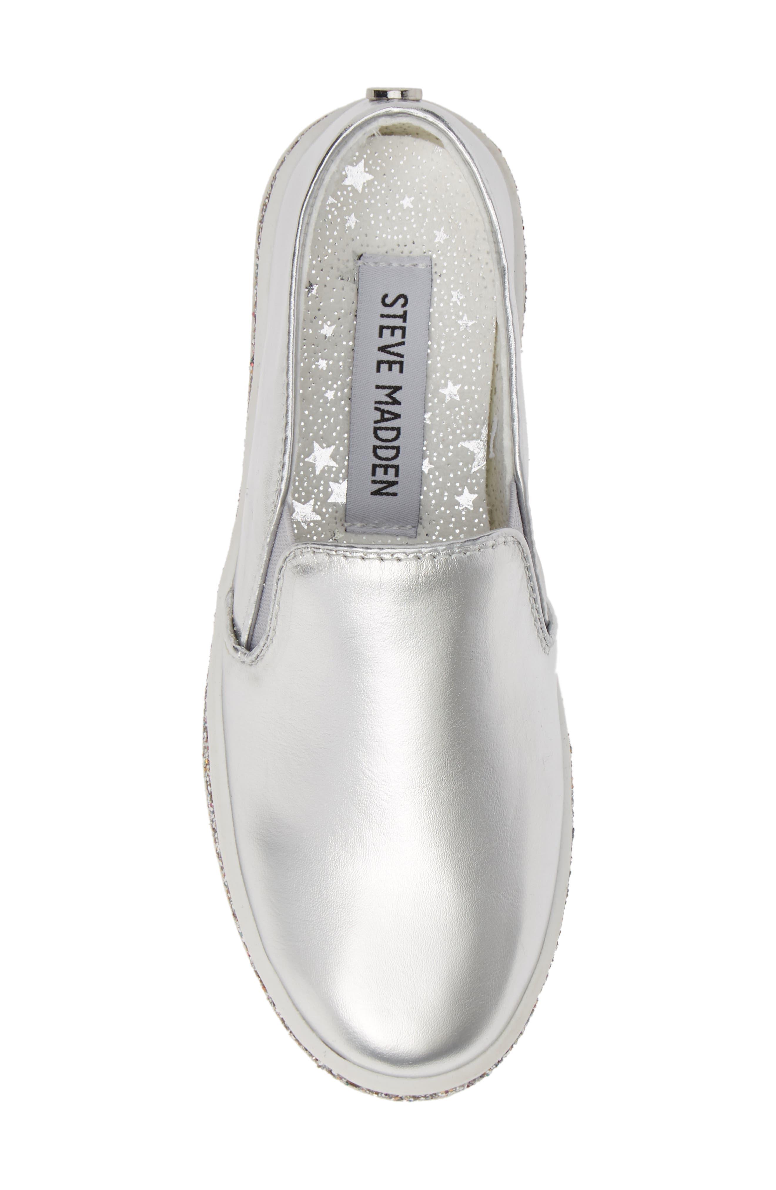 Jglorie Glitter Slip-On Sneaker,                             Alternate thumbnail 5, color,                             SILVER