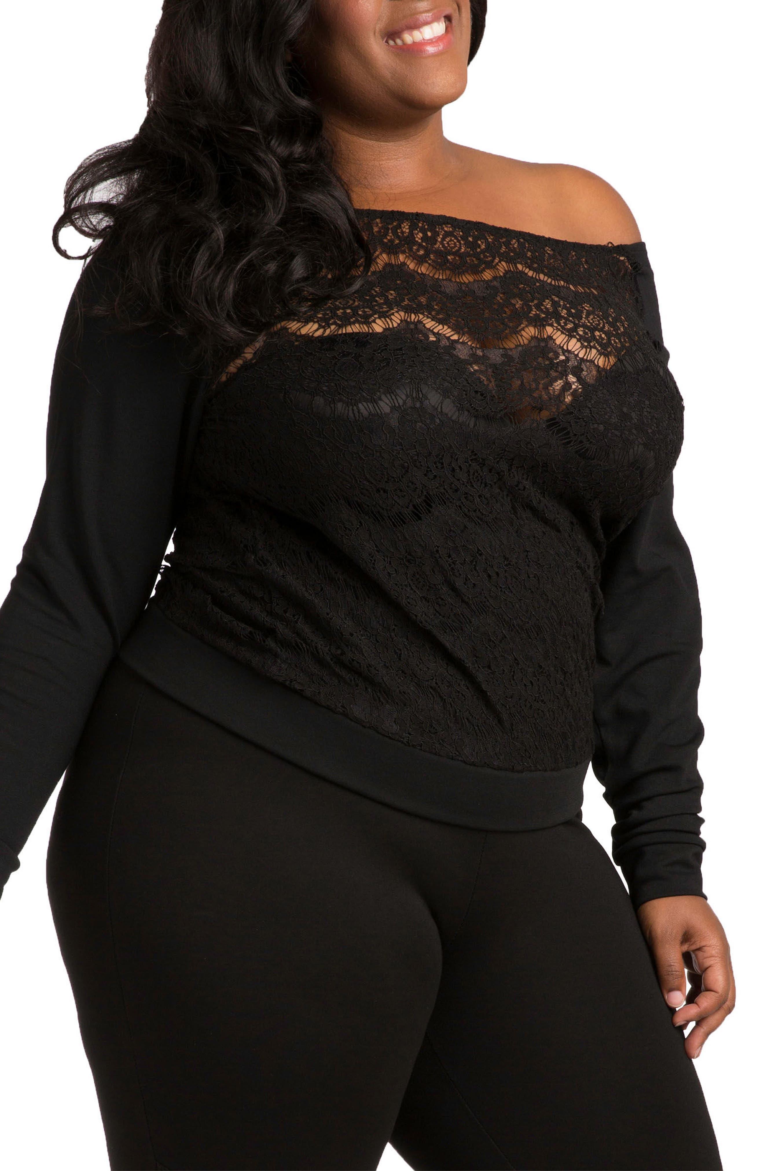 Lace & Ponte Knit Top,                             Main thumbnail 1, color,                             BLACK