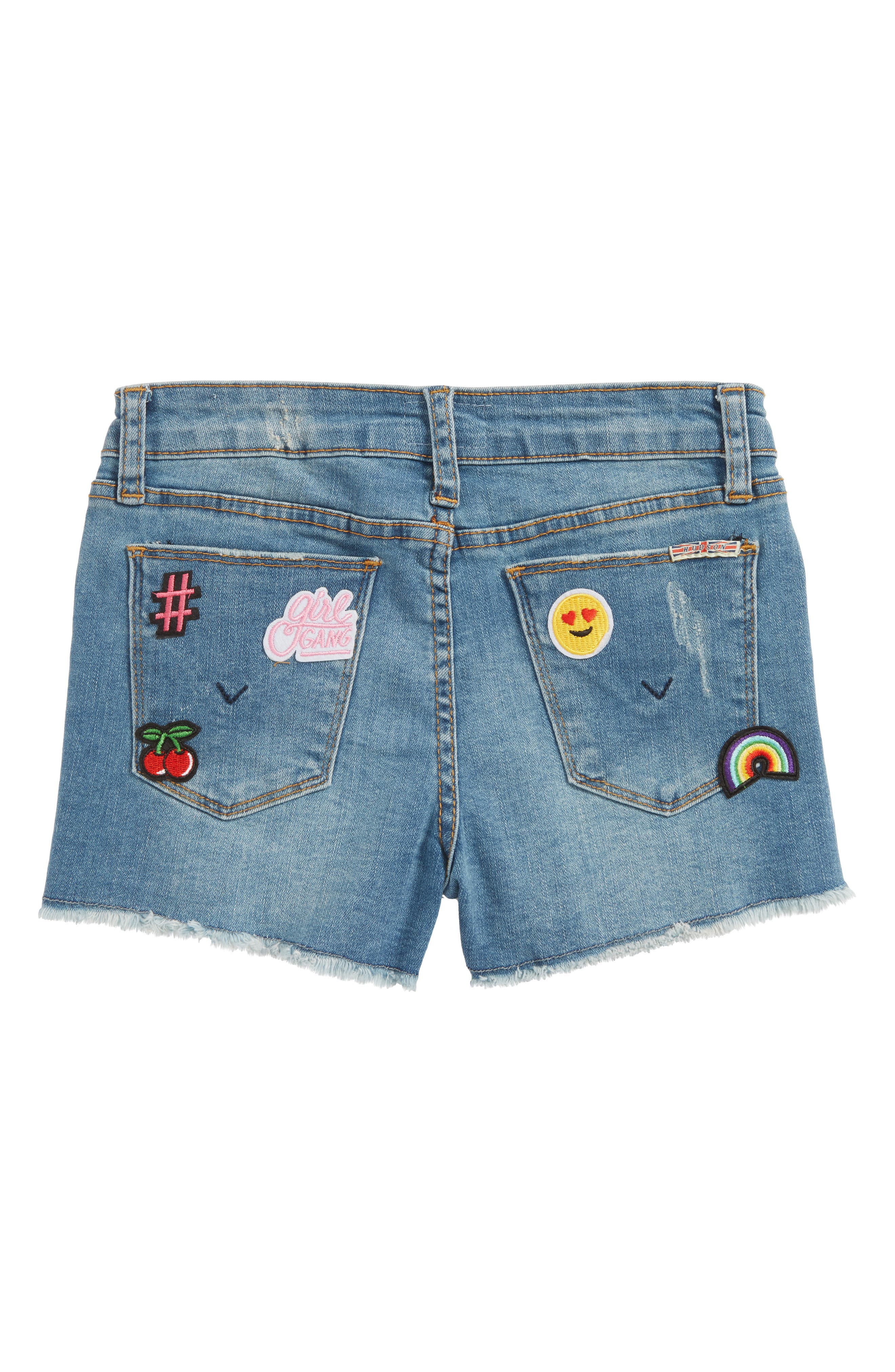Patchy Cutoff Denim Shorts,                             Alternate thumbnail 2, color,                             400