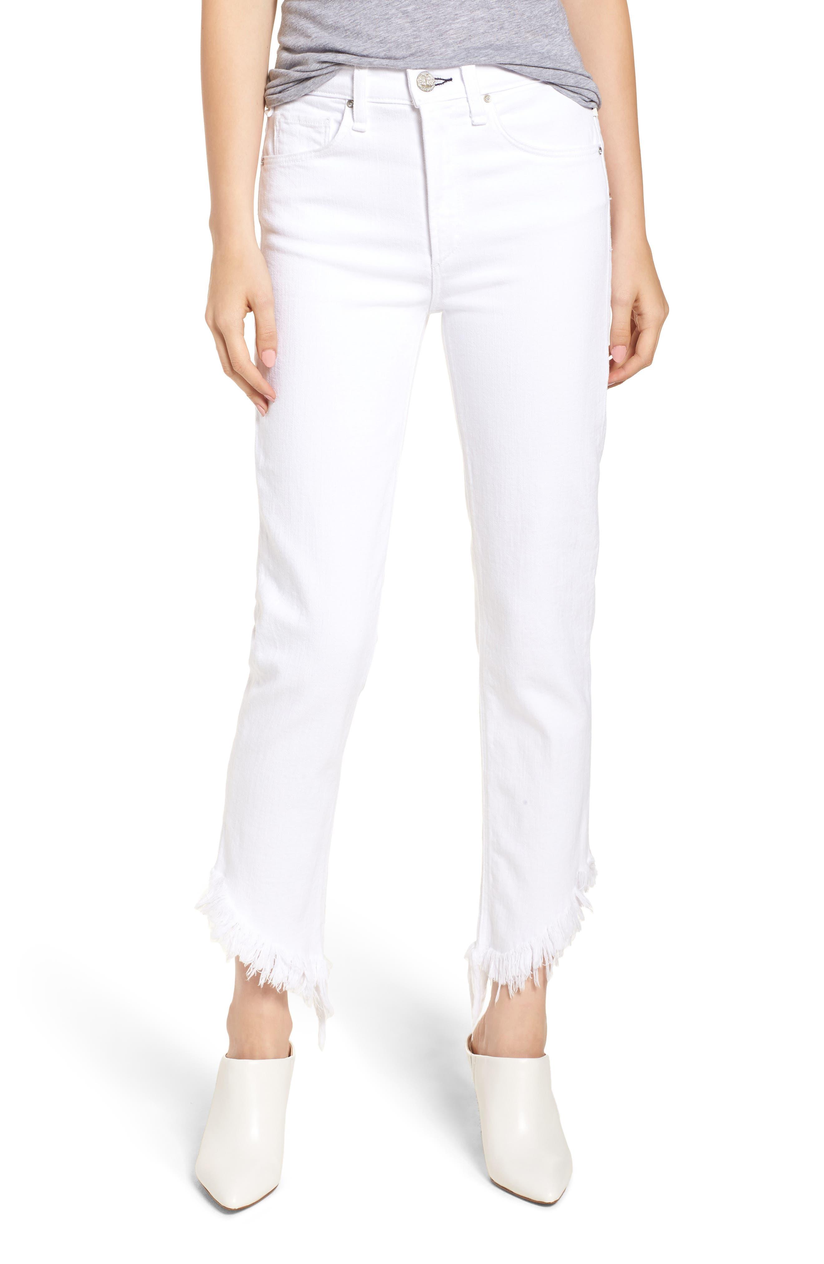 Valletta High Waist Crop Straight Leg Jeans,                         Main,                         color, 100