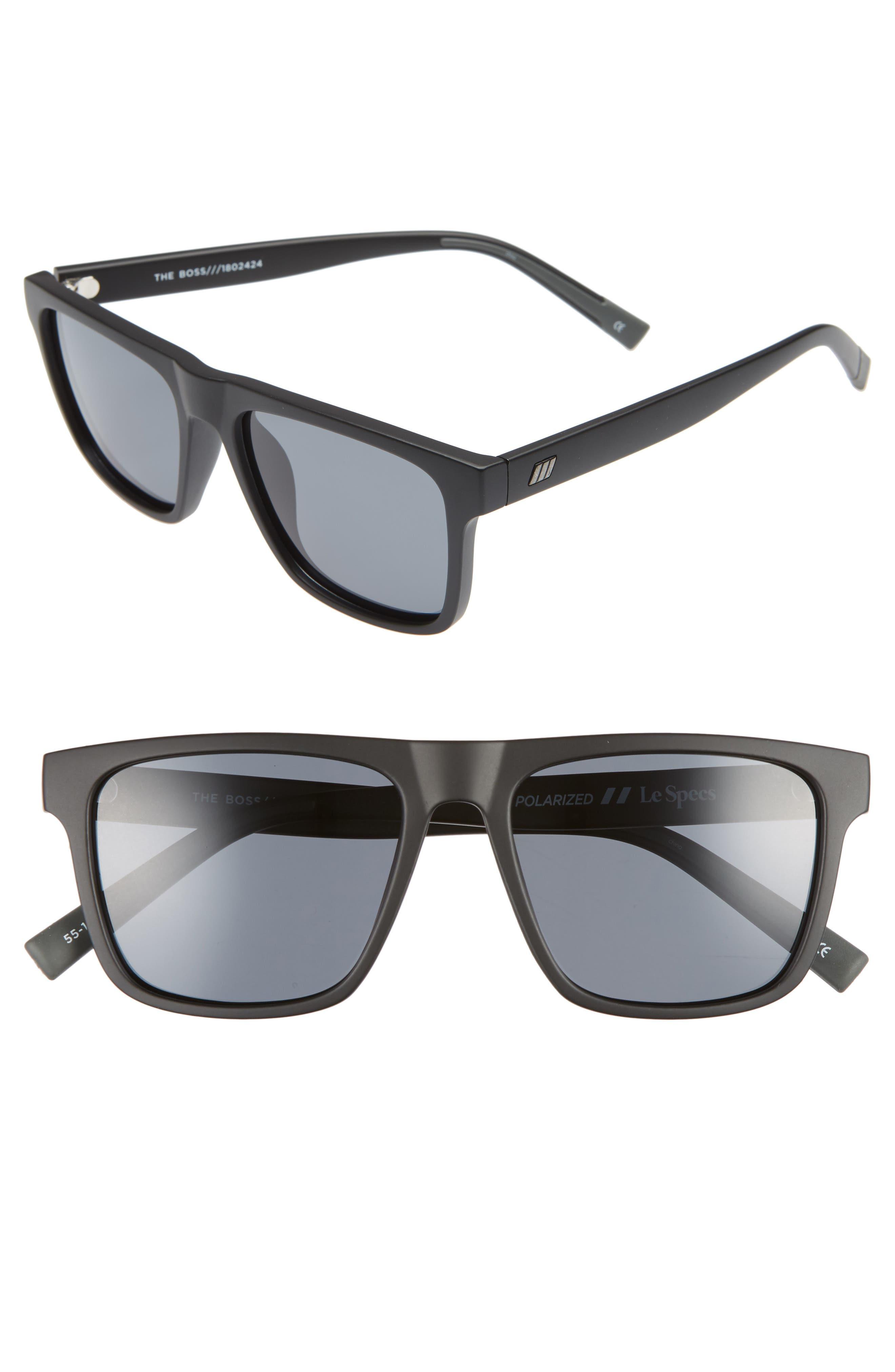 The Boss 55mm Rectangle Polarized Sunglasses,                         Main,                         color, MATTE BLACK