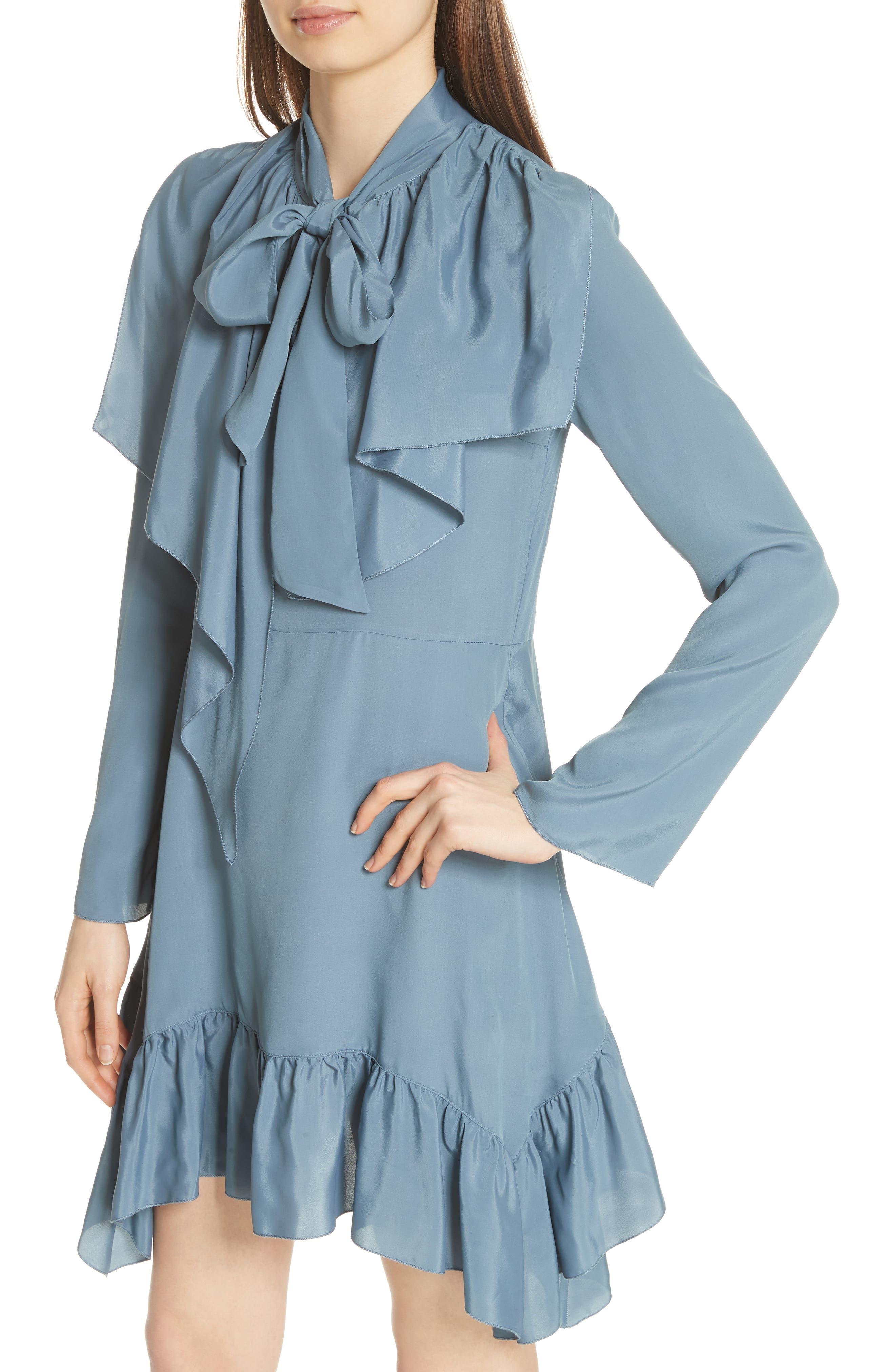Tie Neck Ruffle Hem Dress,                             Alternate thumbnail 4, color,                             MIRAGE BLUE