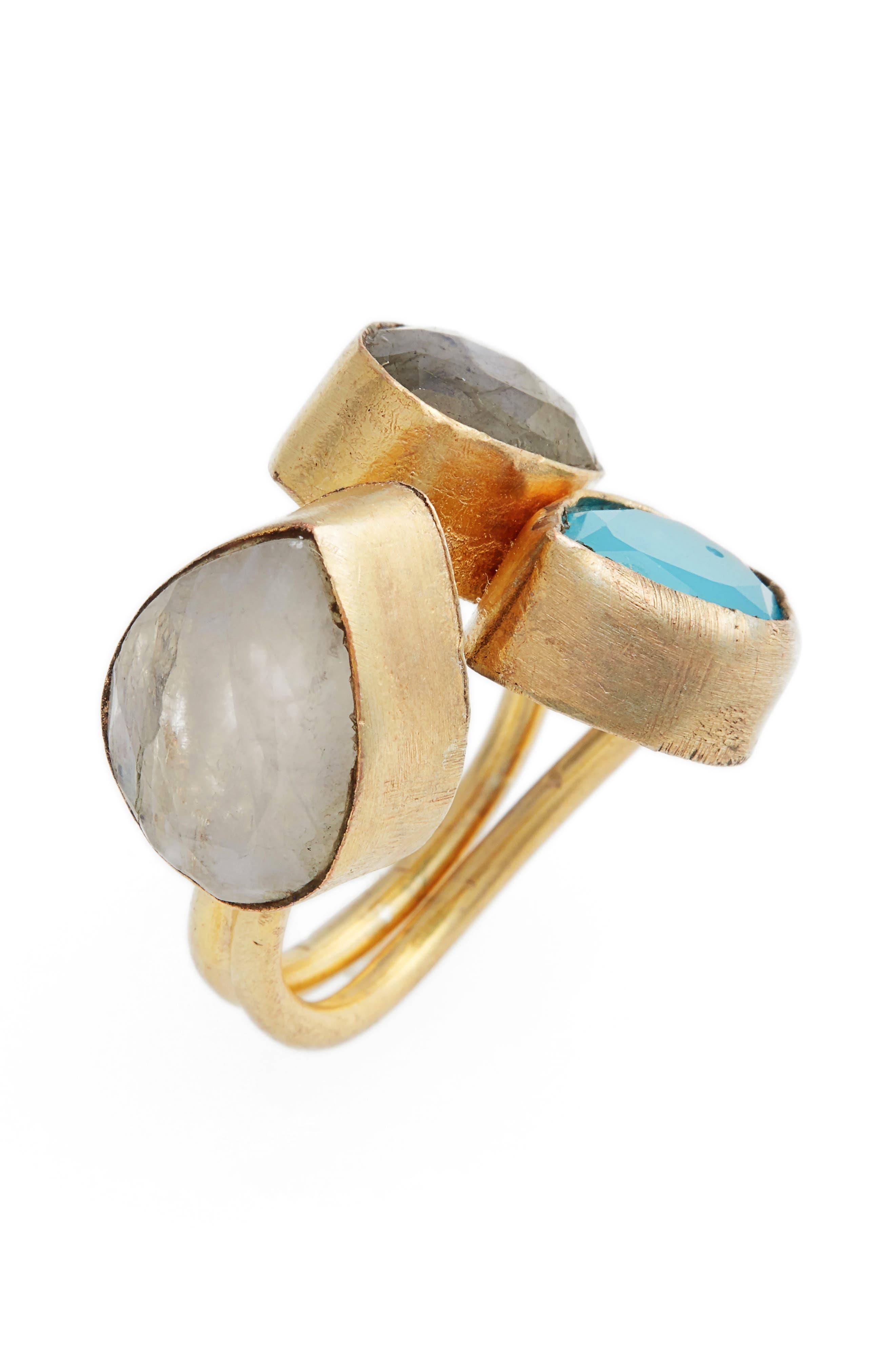 Kinara Moonstone, Labradorite & Chalcedony Ring,                             Alternate thumbnail 3, color,                             710