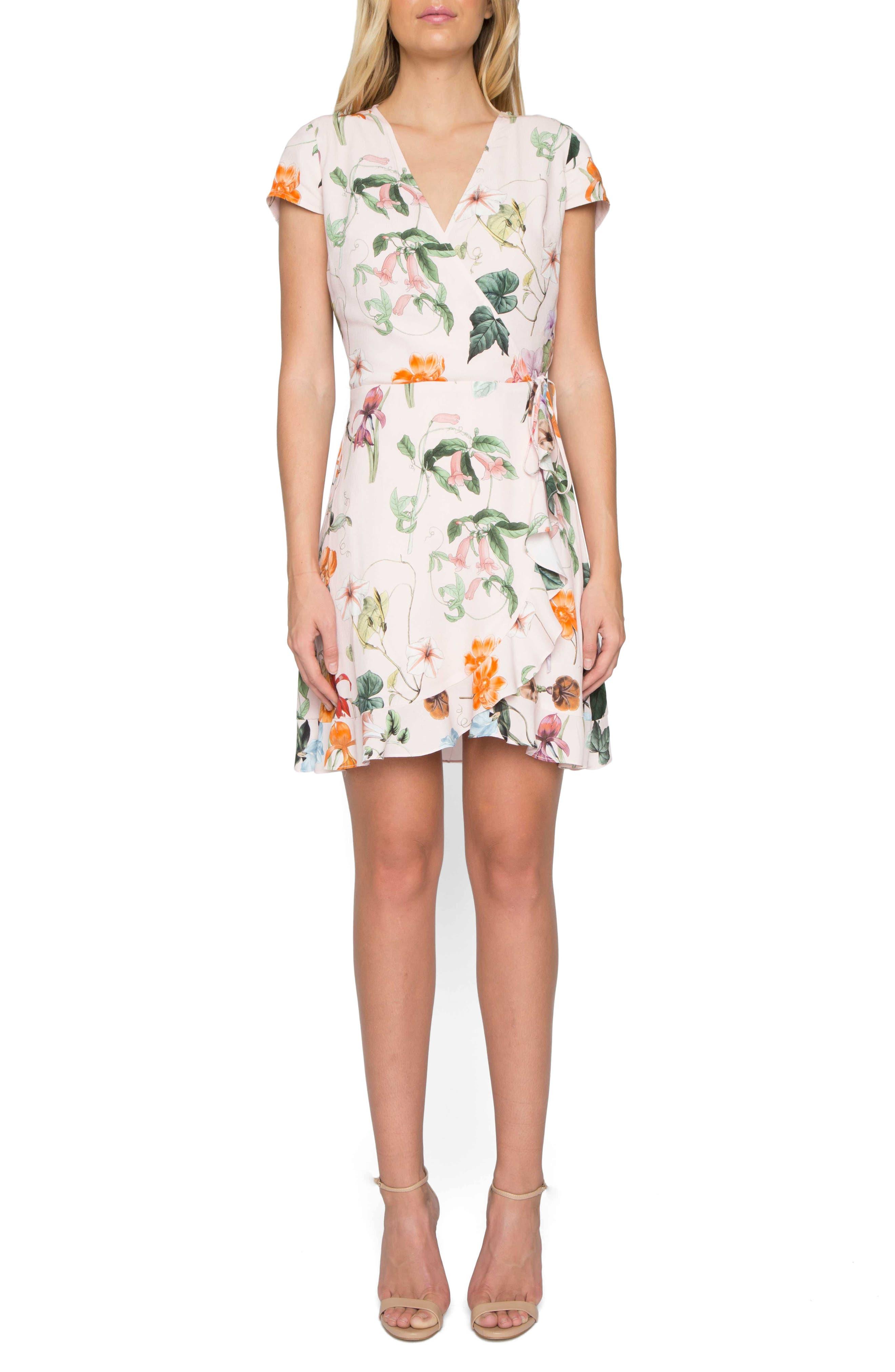 Floral Wrap Dress,                             Main thumbnail 1, color,