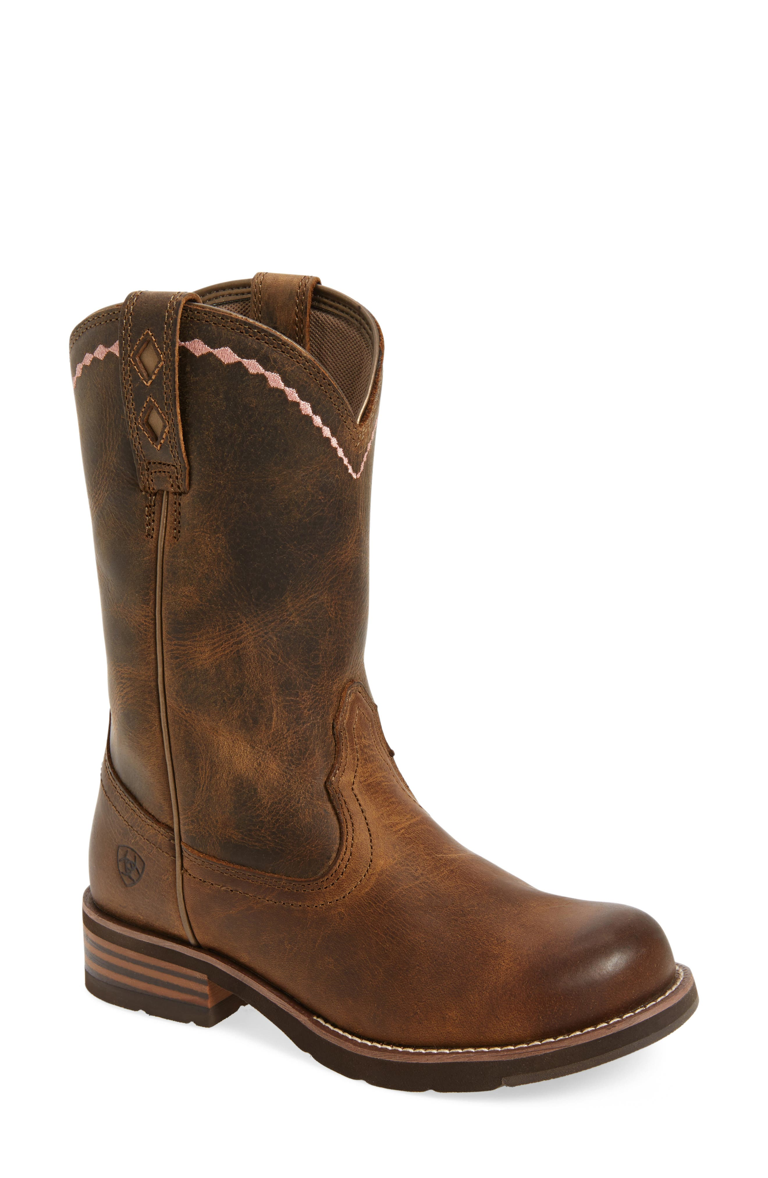 Unbridled Roper Western Boot,                         Main,                         color, DISTRESSED BROWN LEATHER