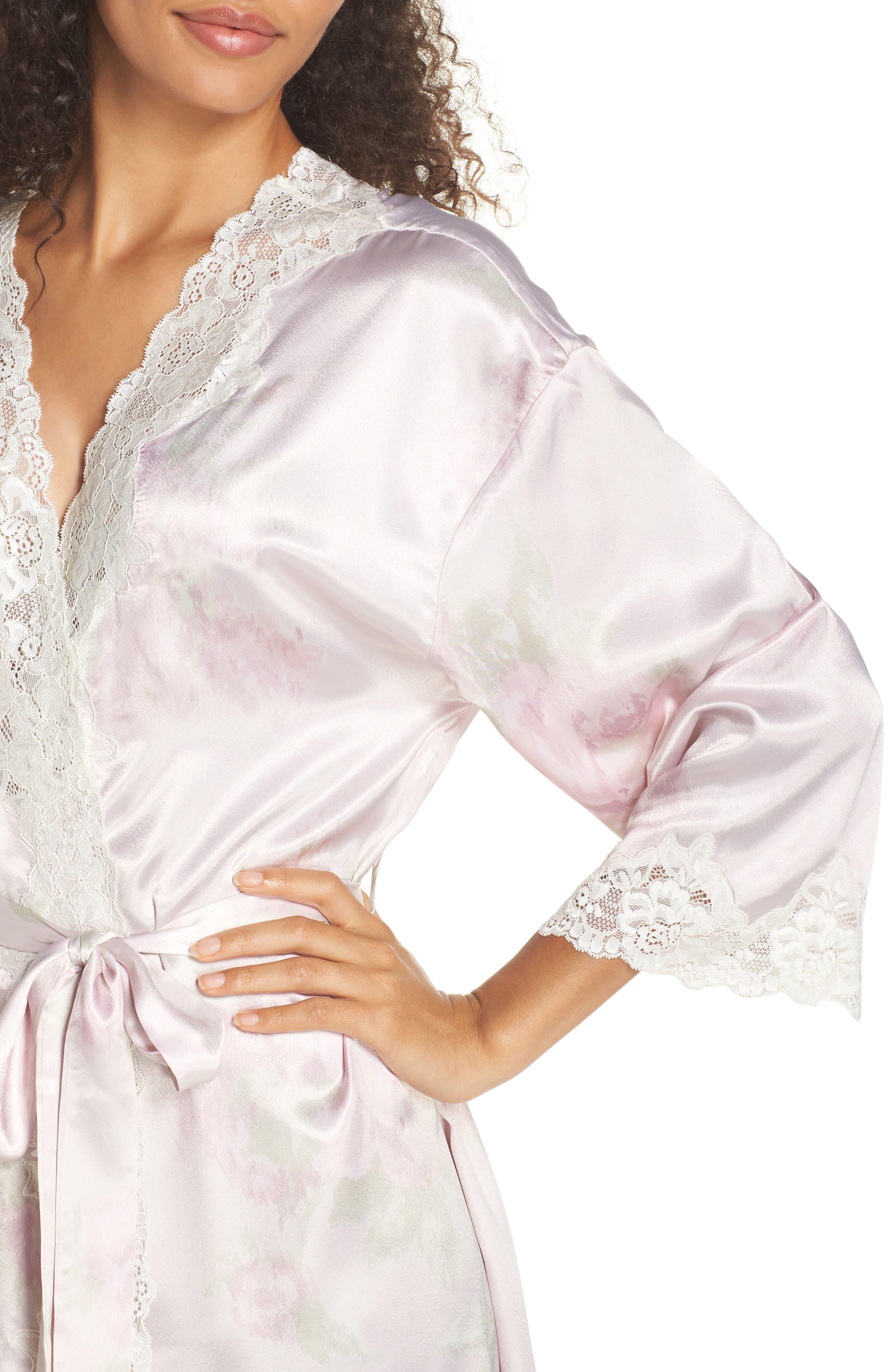 Lace & Satin Robe,                             Alternate thumbnail 4, color,                             654