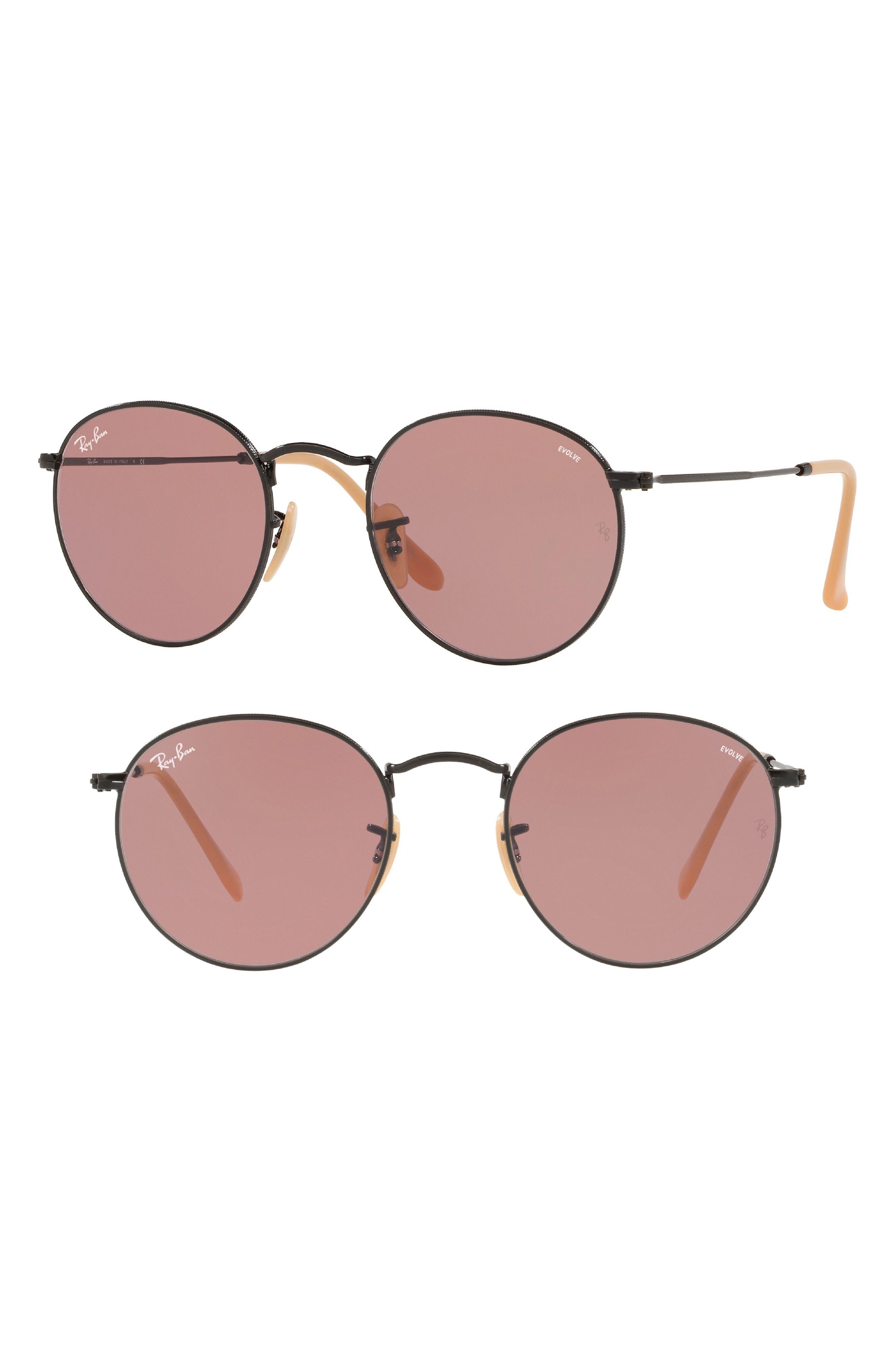 53mm Evolve Photochromic Round Sunglasses,                             Main thumbnail 1, color,                             001