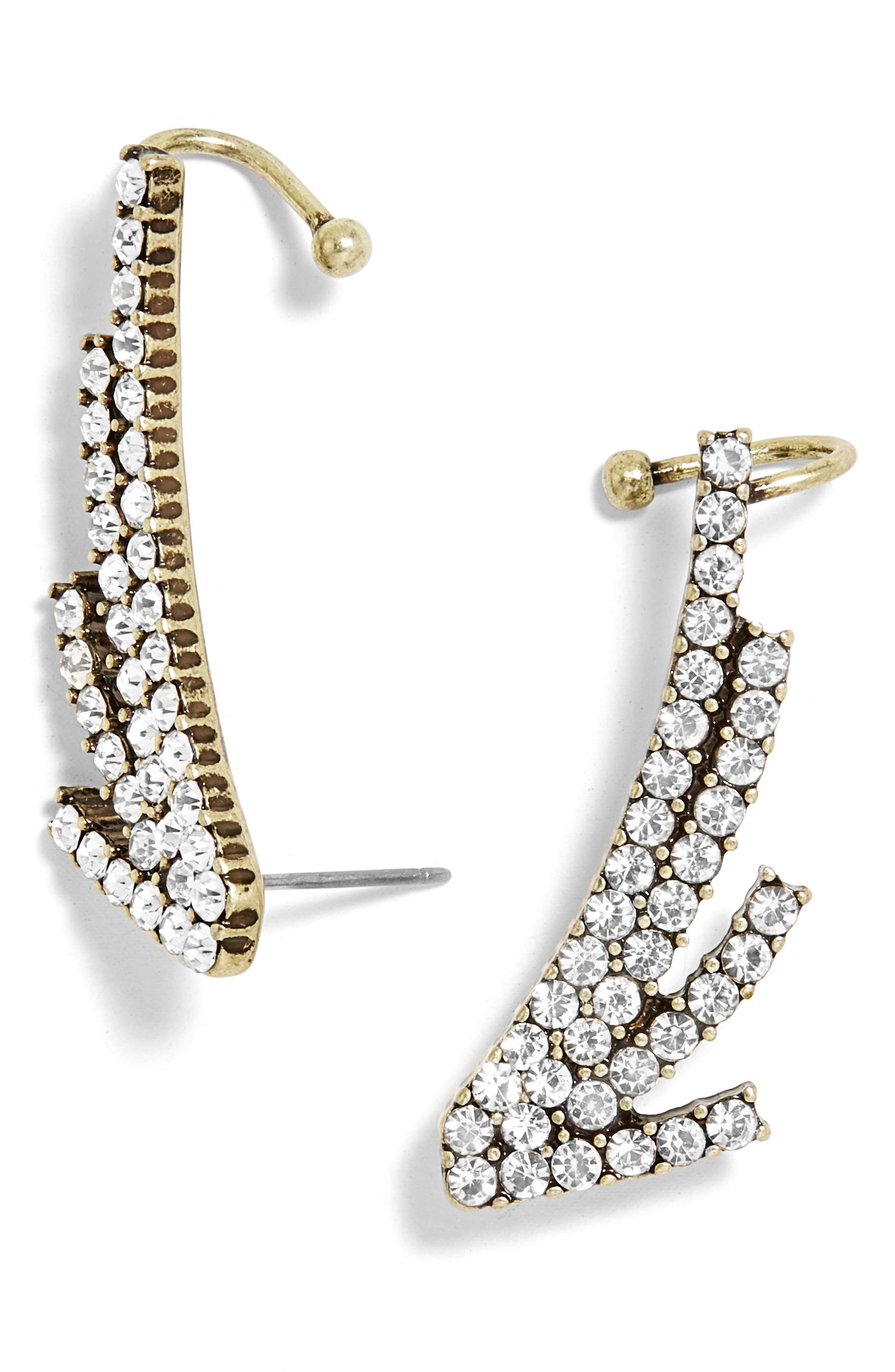 Winged Pavé Ear Cuffs,                         Main,                         color, 105
