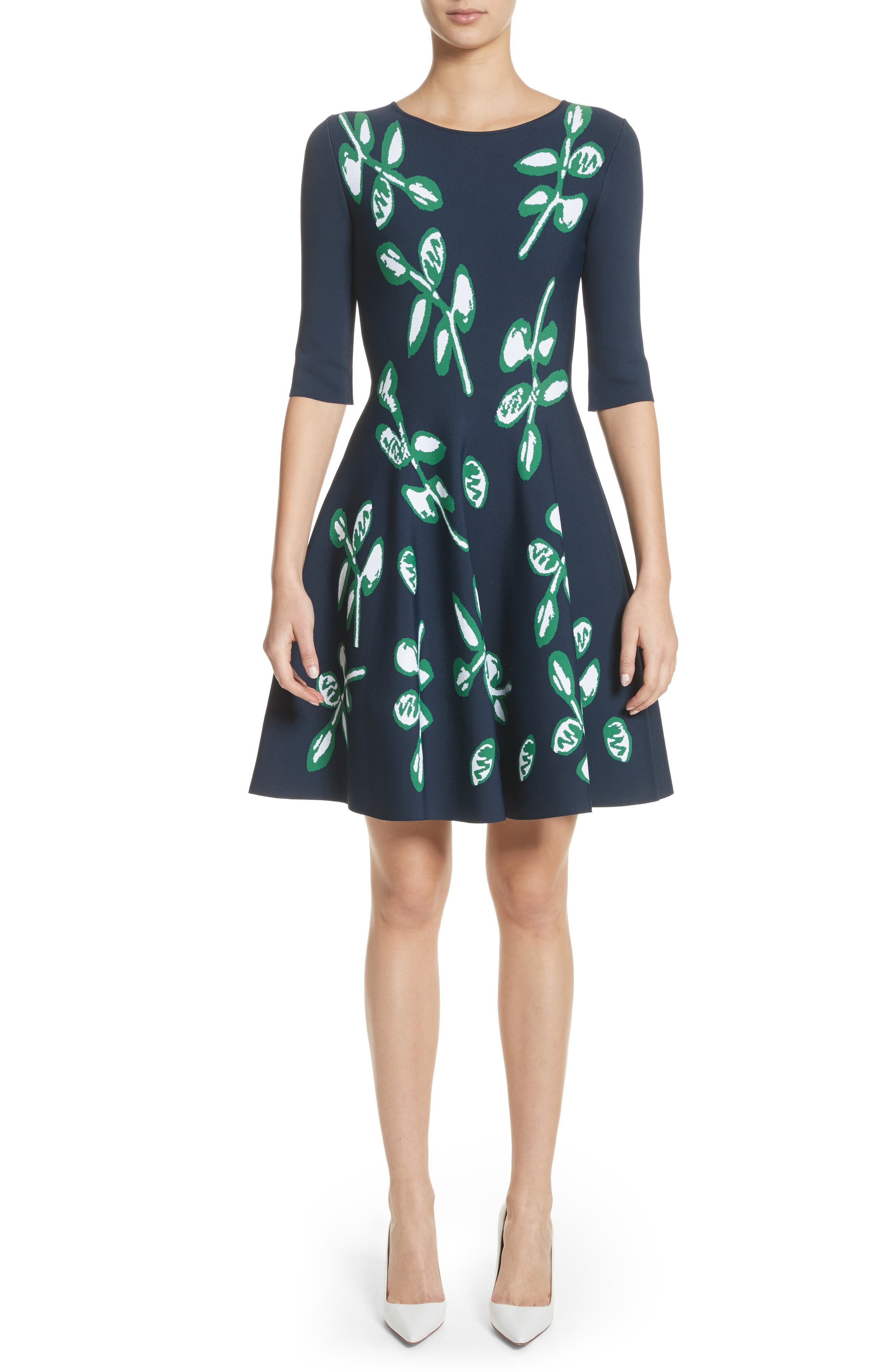 Leaf Intarsia Knit Fit & Flare Dress,                             Main thumbnail 1, color,