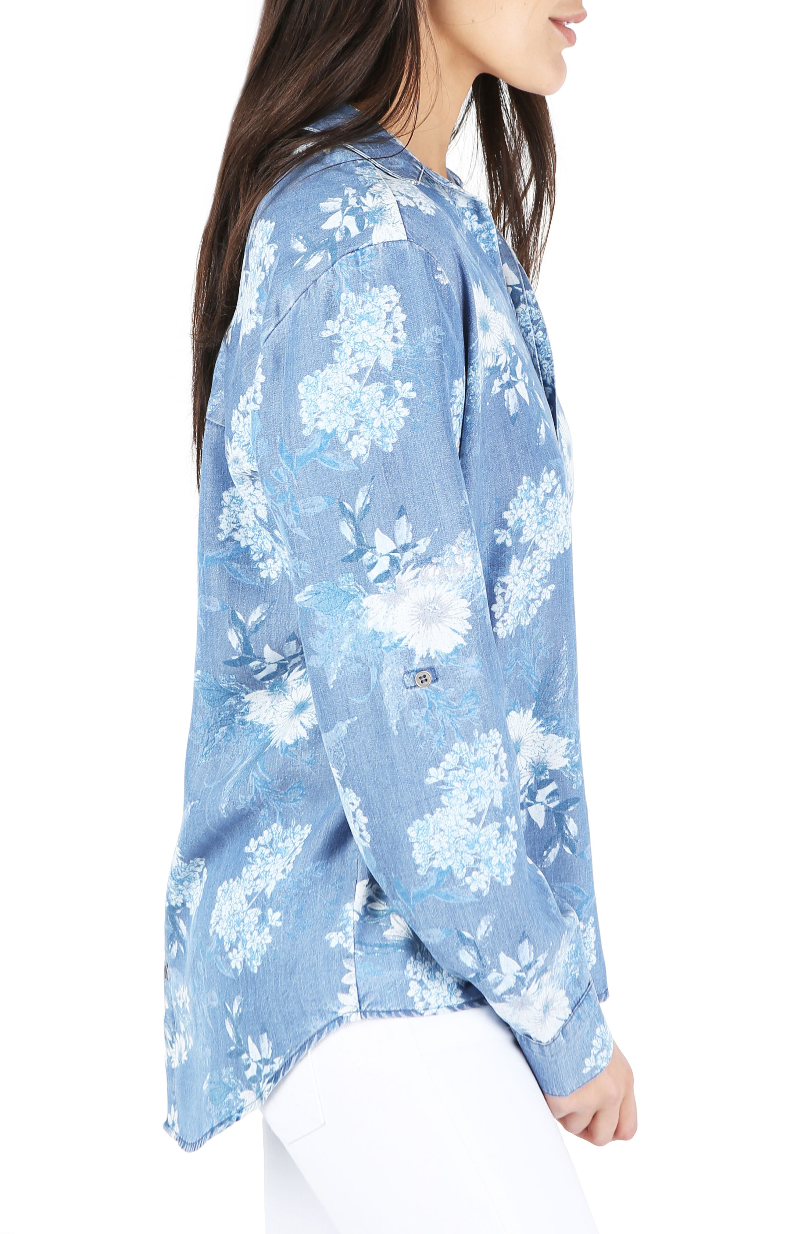 Floral Chambray Top,                             Alternate thumbnail 3, color,