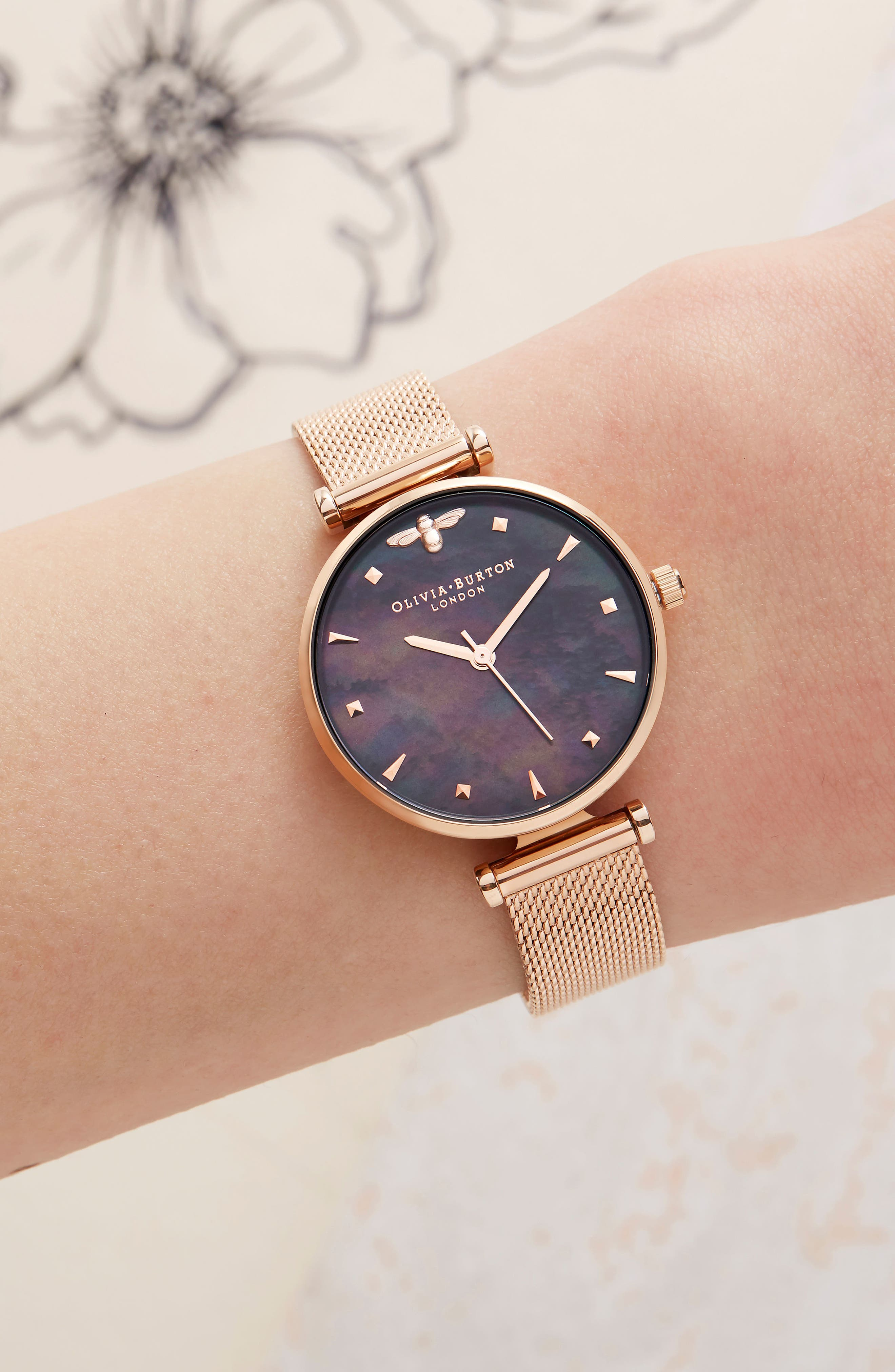 Queen Bee Mesh Strap Watch, 30mm,                             Alternate thumbnail 2, color,                             ROSE GOLD/ BLACK MOP/ SILVER