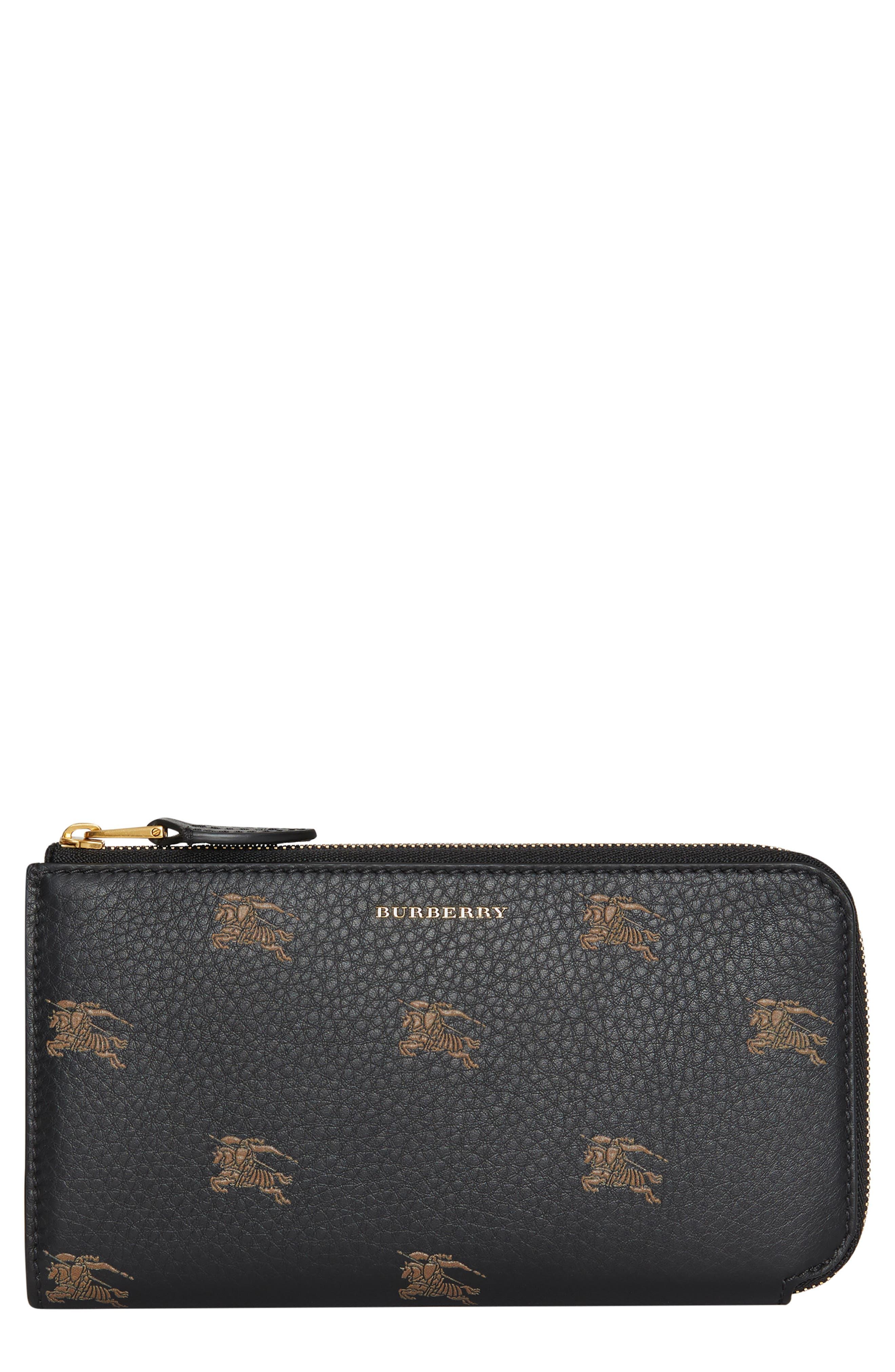 Embossed Leather Zip Around Wallet,                         Main,                         color, BLACK