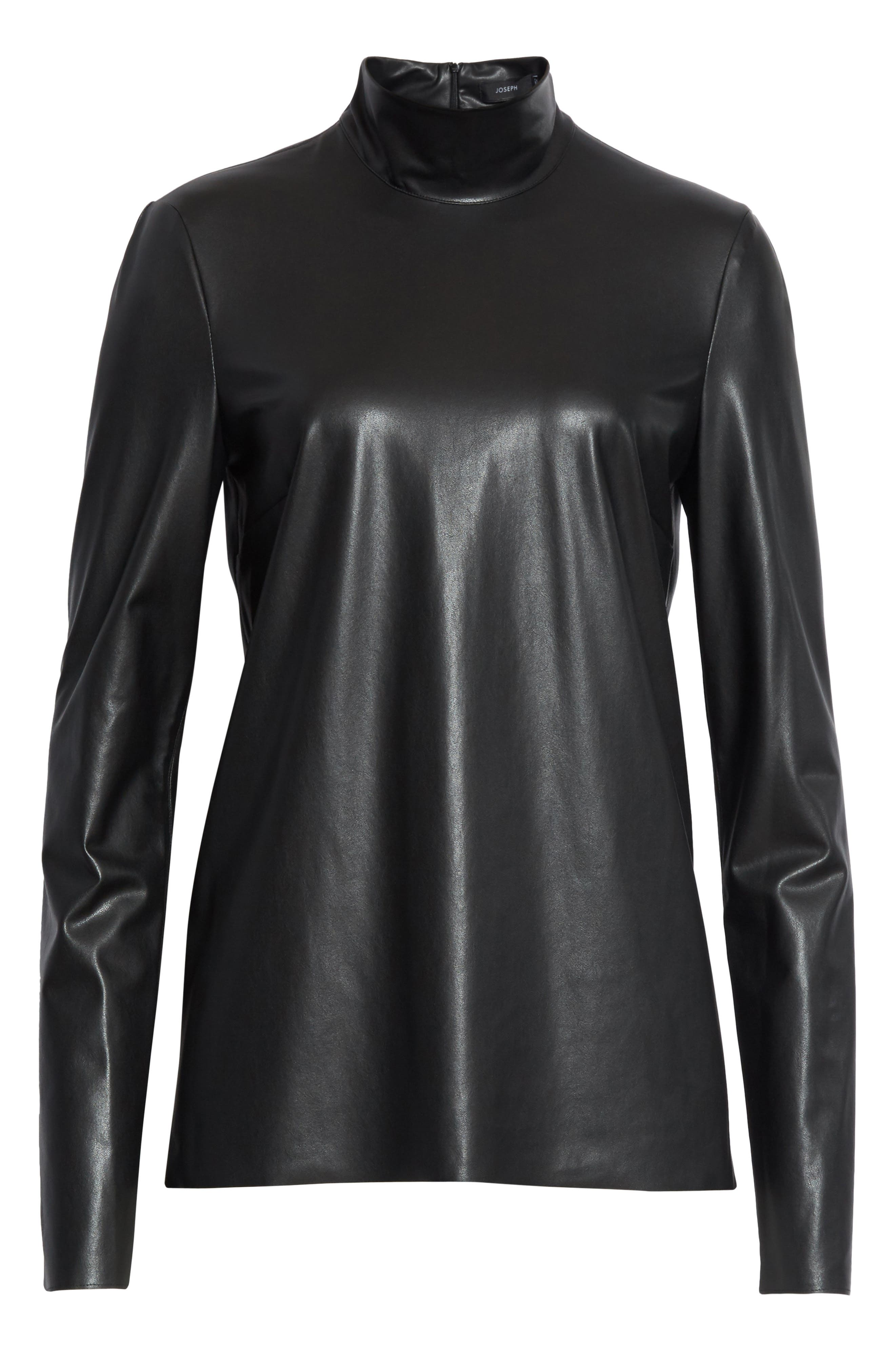 Vienna Feather Sky Faux Leather Top,                             Alternate thumbnail 6, color,