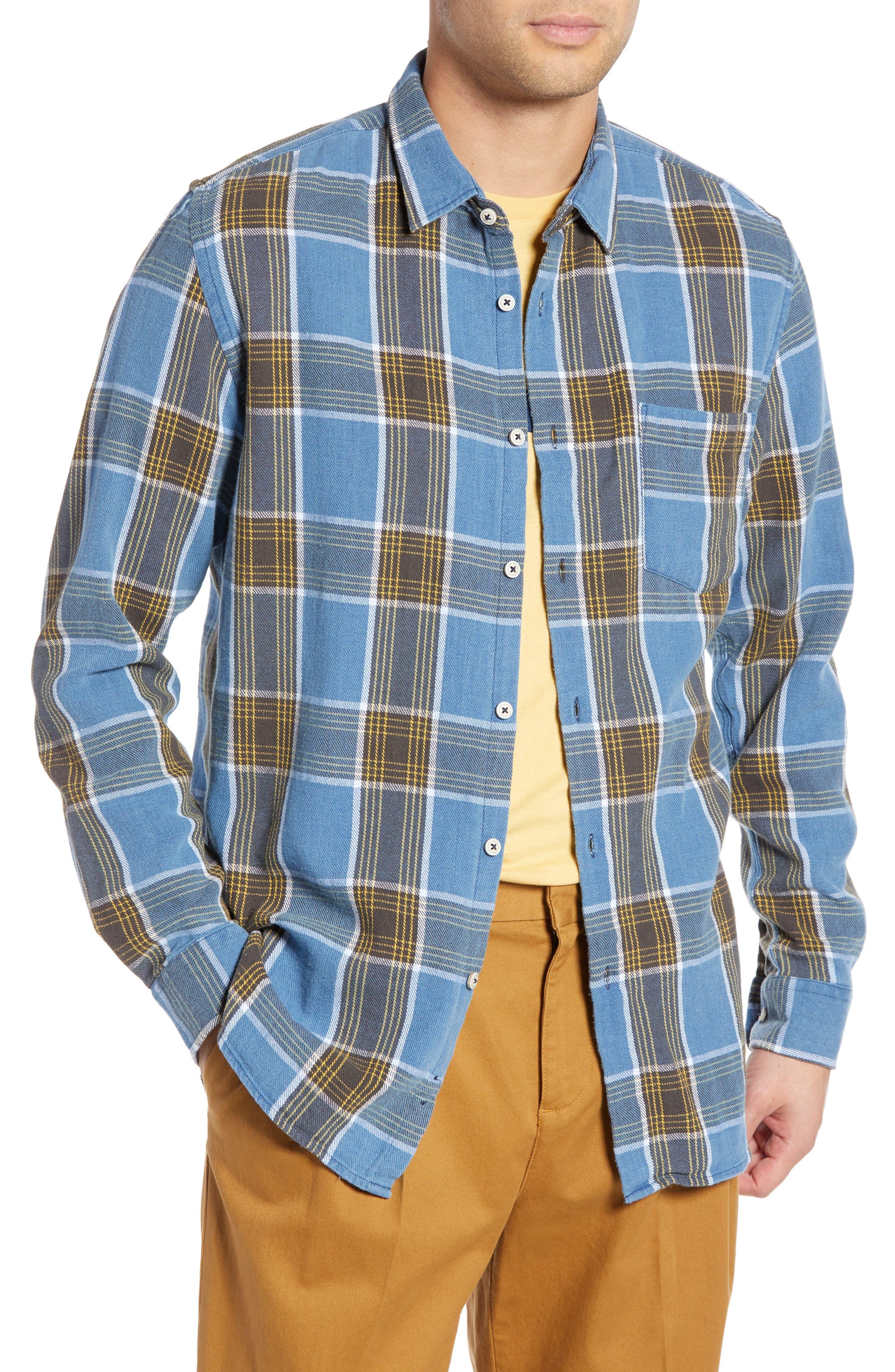 Plaid Flannel Shirt, Main, color, 450