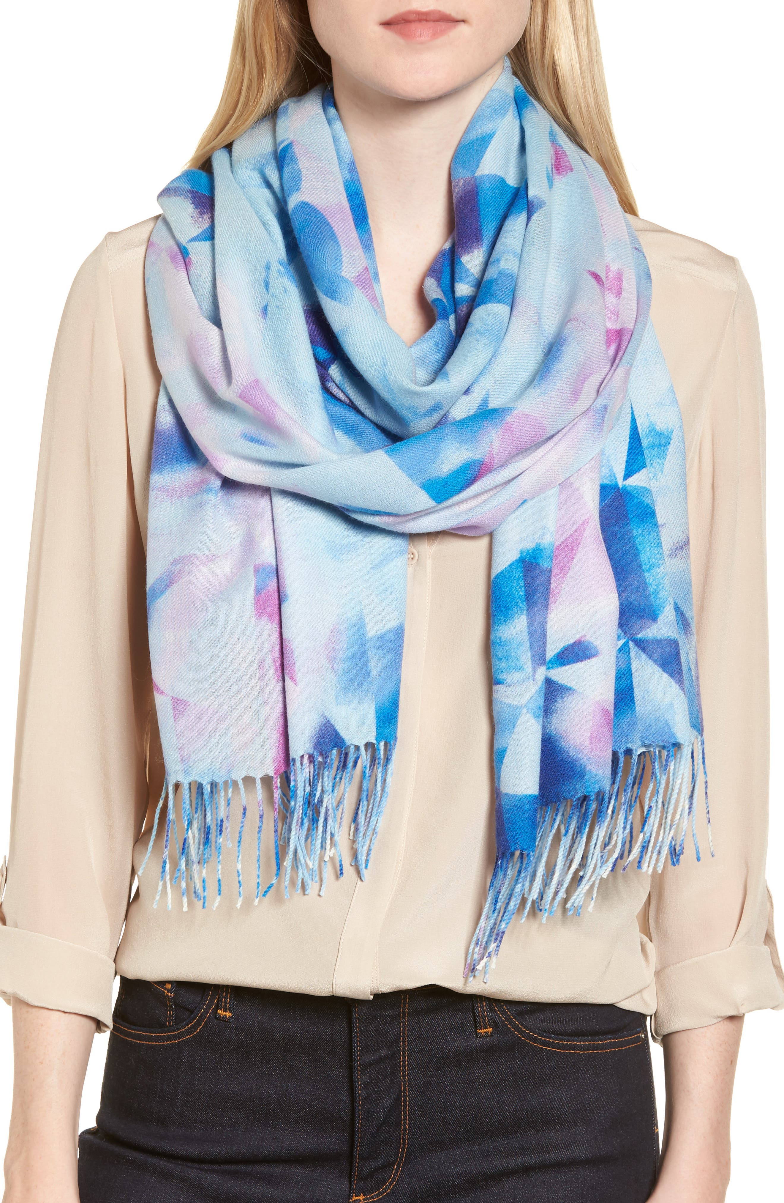 Tissue Print Wool & Cashmere Wrap Scarf,                             Main thumbnail 14, color,