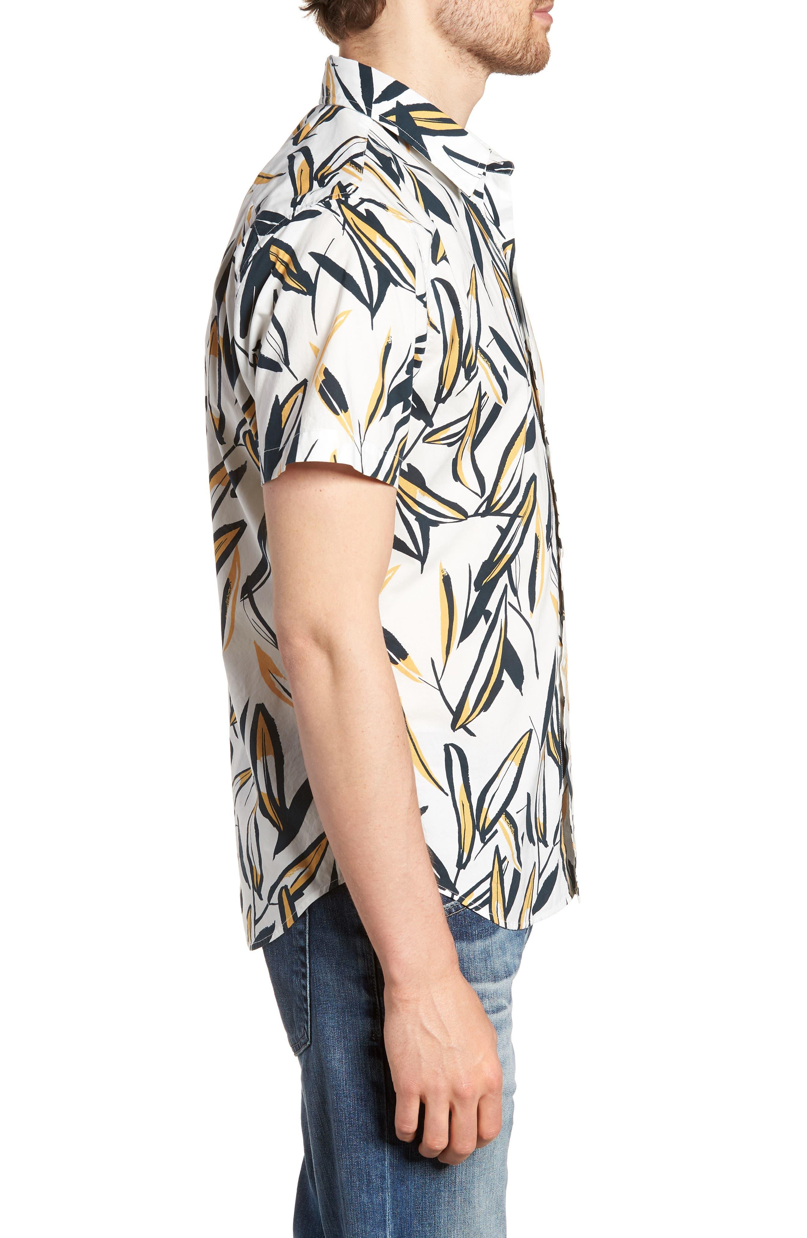 Riviera Slim Fit Leafy Print Sport Shirt,                             Alternate thumbnail 3, color,                             100