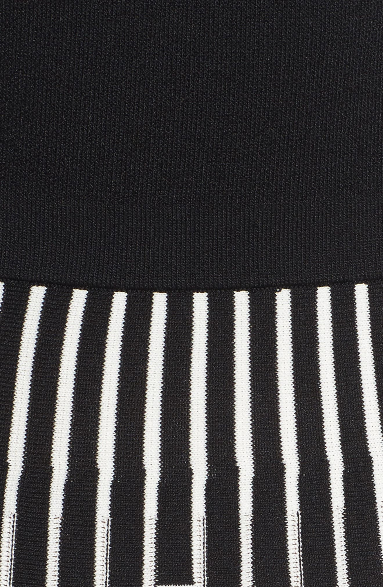 Off the Shoulder Midi Dress,                             Alternate thumbnail 5, color,                             BLACK/ IVORY