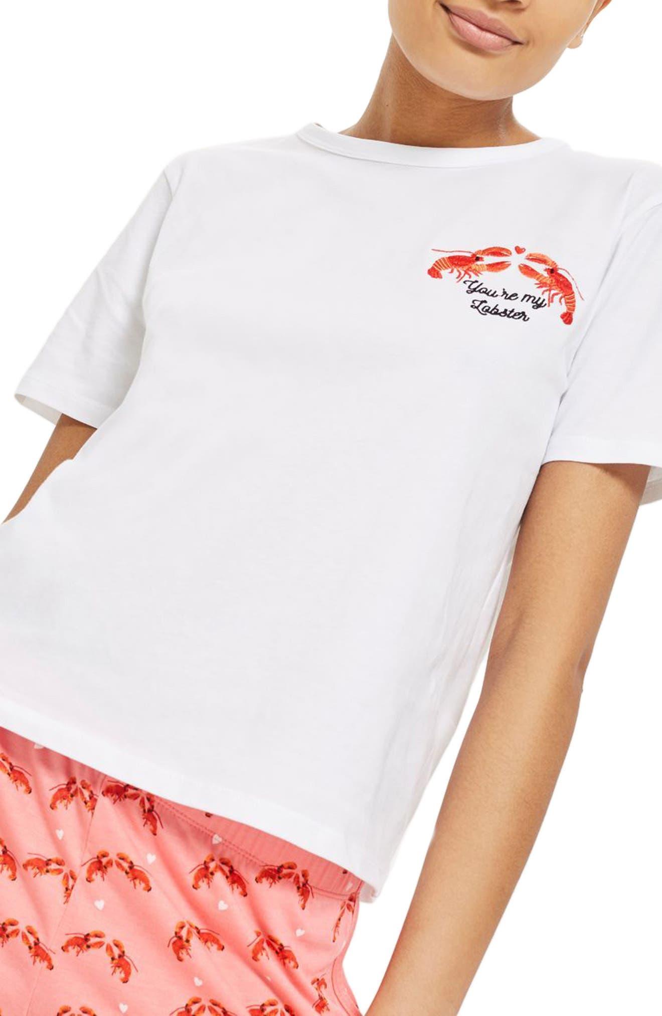 You're My Lobster Short Pajamas,                             Main thumbnail 1, color,                             650
